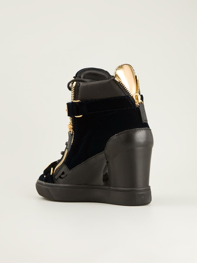 Giuseppe zanotti Concealed Wedge Heel Hi-top Sneakers in ...