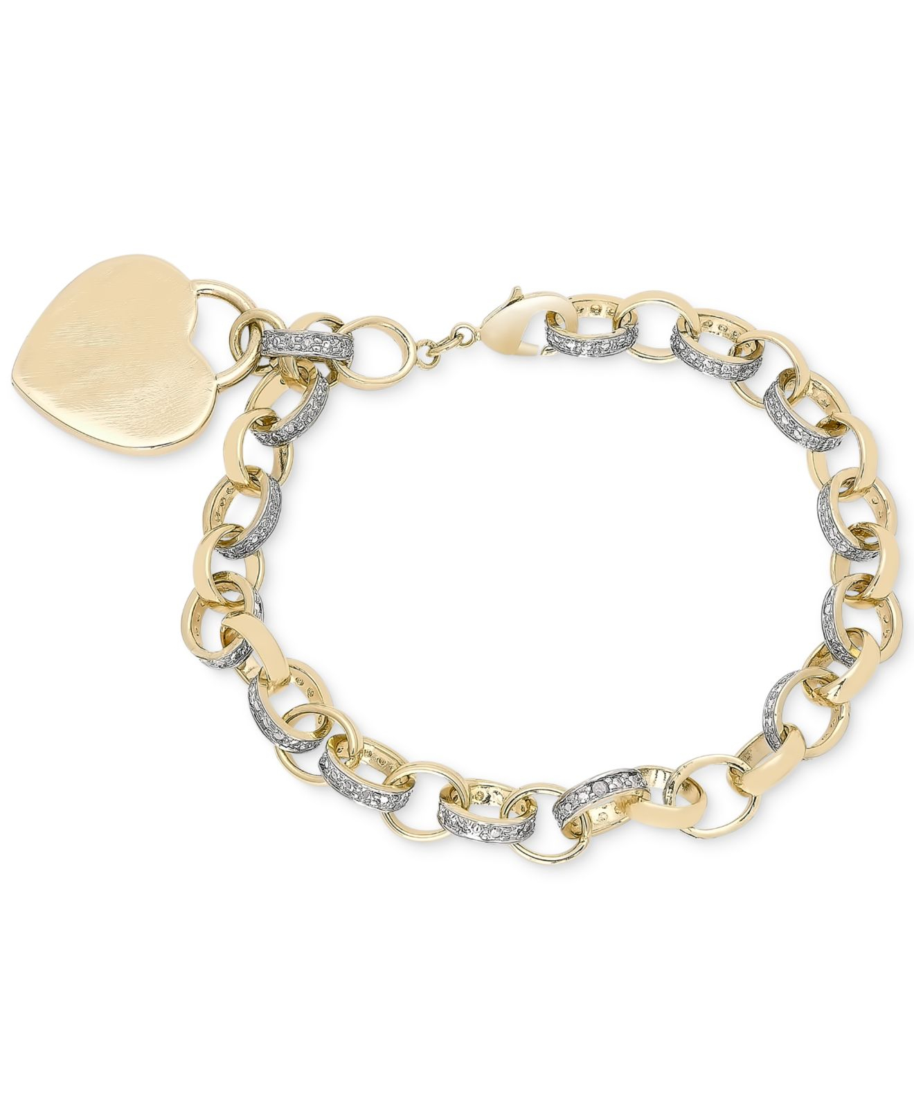 Bracelets The Deco Haus Tagged Gold: Macy's Diamond Accent Heart Tag Chain Bracelet In 18k Gold