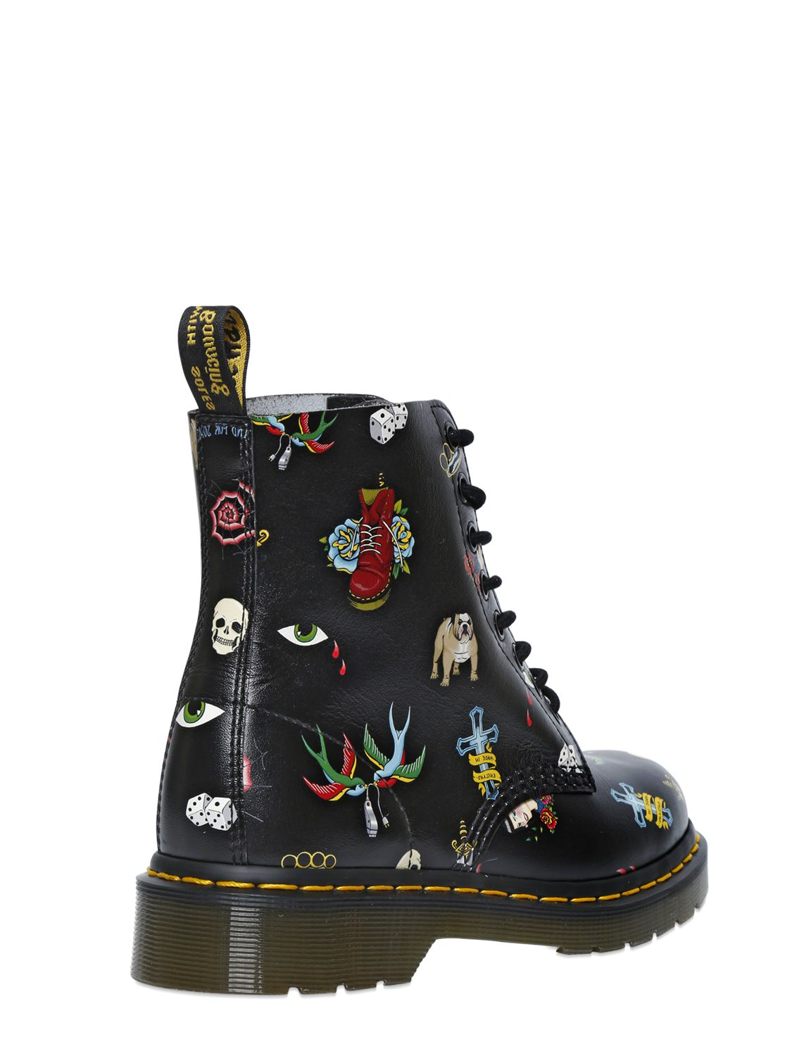 Dr Martens 30mm Tattoo Printed Leather Boots In Black Lyst