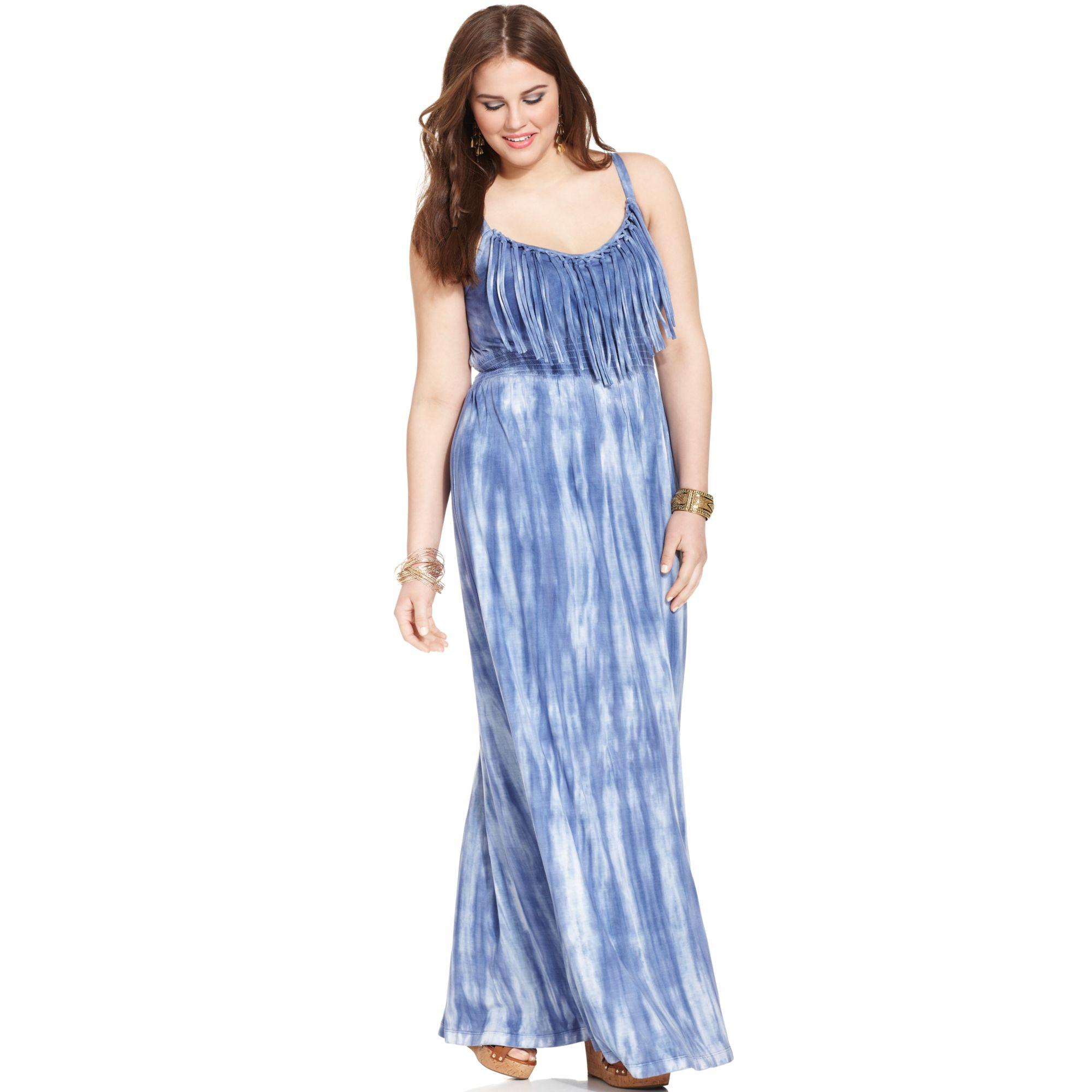 Plus Size Fringed Tiedye Maxi Dress