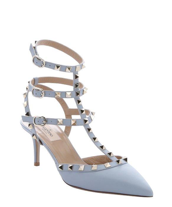 Pale Blue Kitten Heel Shoes