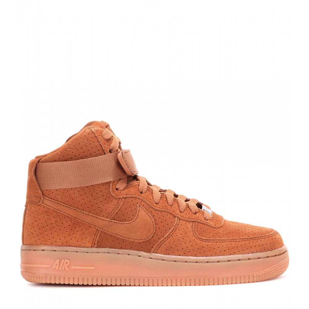 nike air force 1 suede high top sneakers in brown lyst. Black Bedroom Furniture Sets. Home Design Ideas
