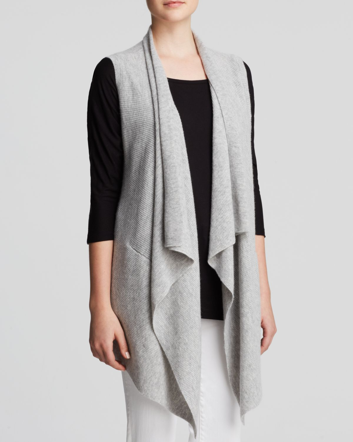 Vince Sweater Vest - Drape Wool Cashmere in Gray | Lyst