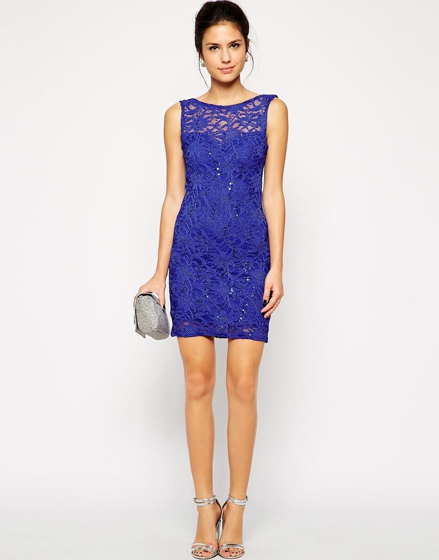 Sequin lace bodycon dress