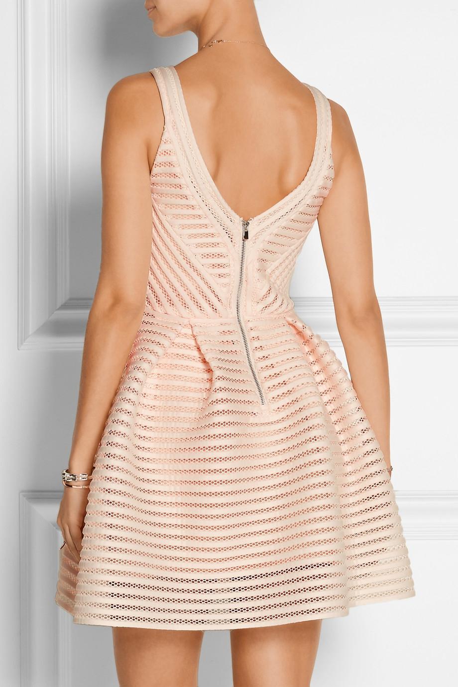 Maje Rayure Mesh Striped Jersey Mini Dress In Pink Lyst