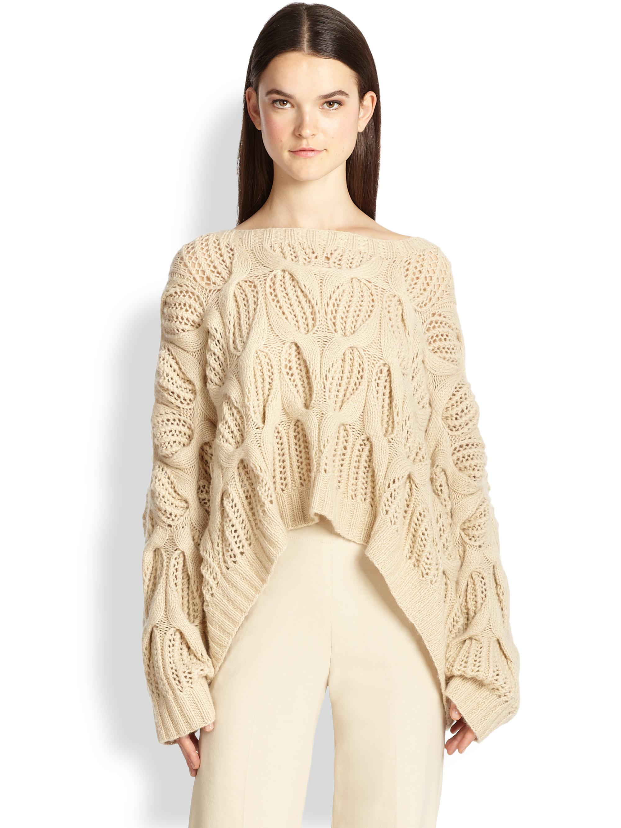 donna karan oversized open knit cashmere sweater in. Black Bedroom Furniture Sets. Home Design Ideas