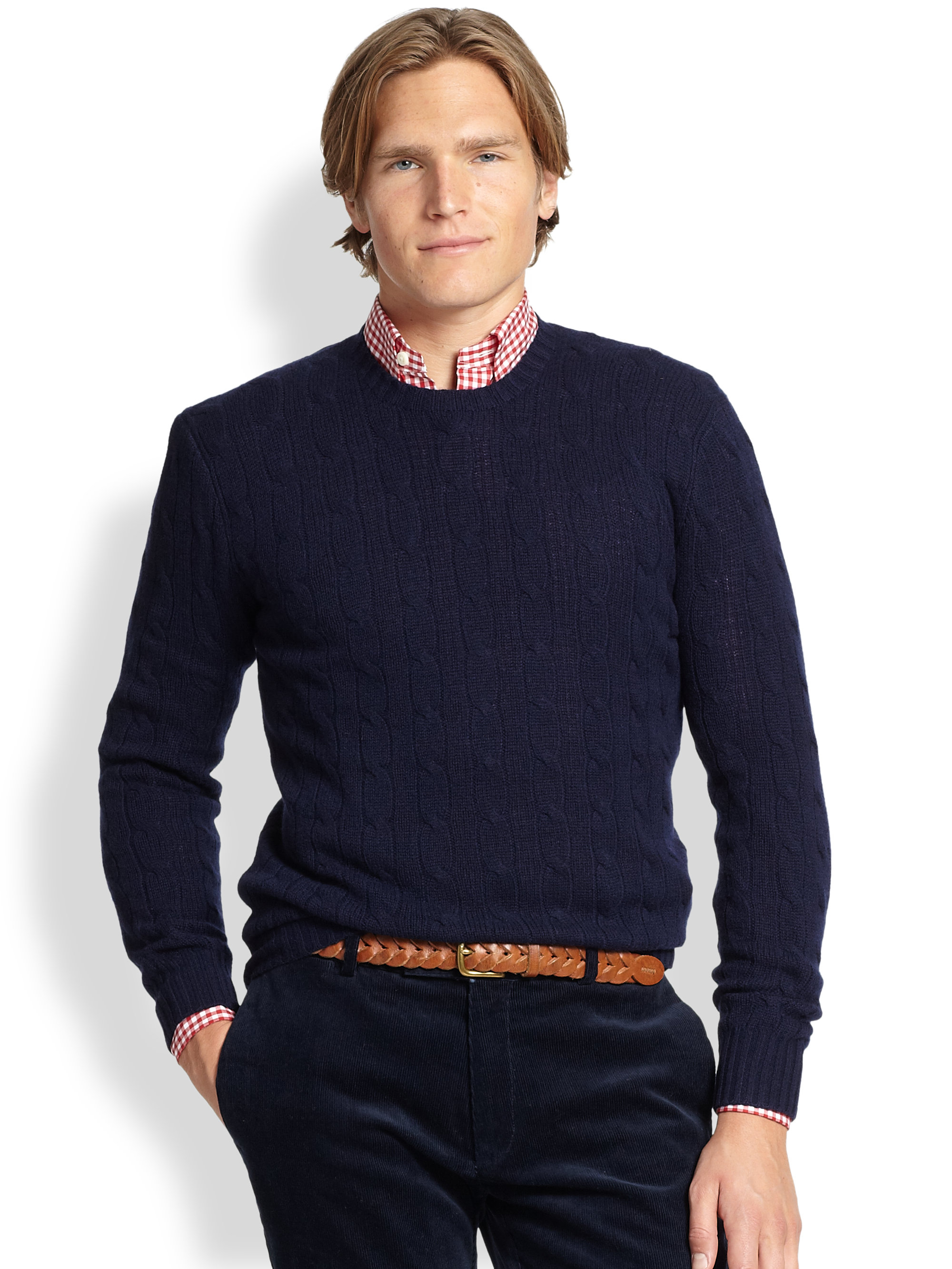 Polo ralph lauren Cable-knit Cashmere Sweater in Blue for Men | Lyst