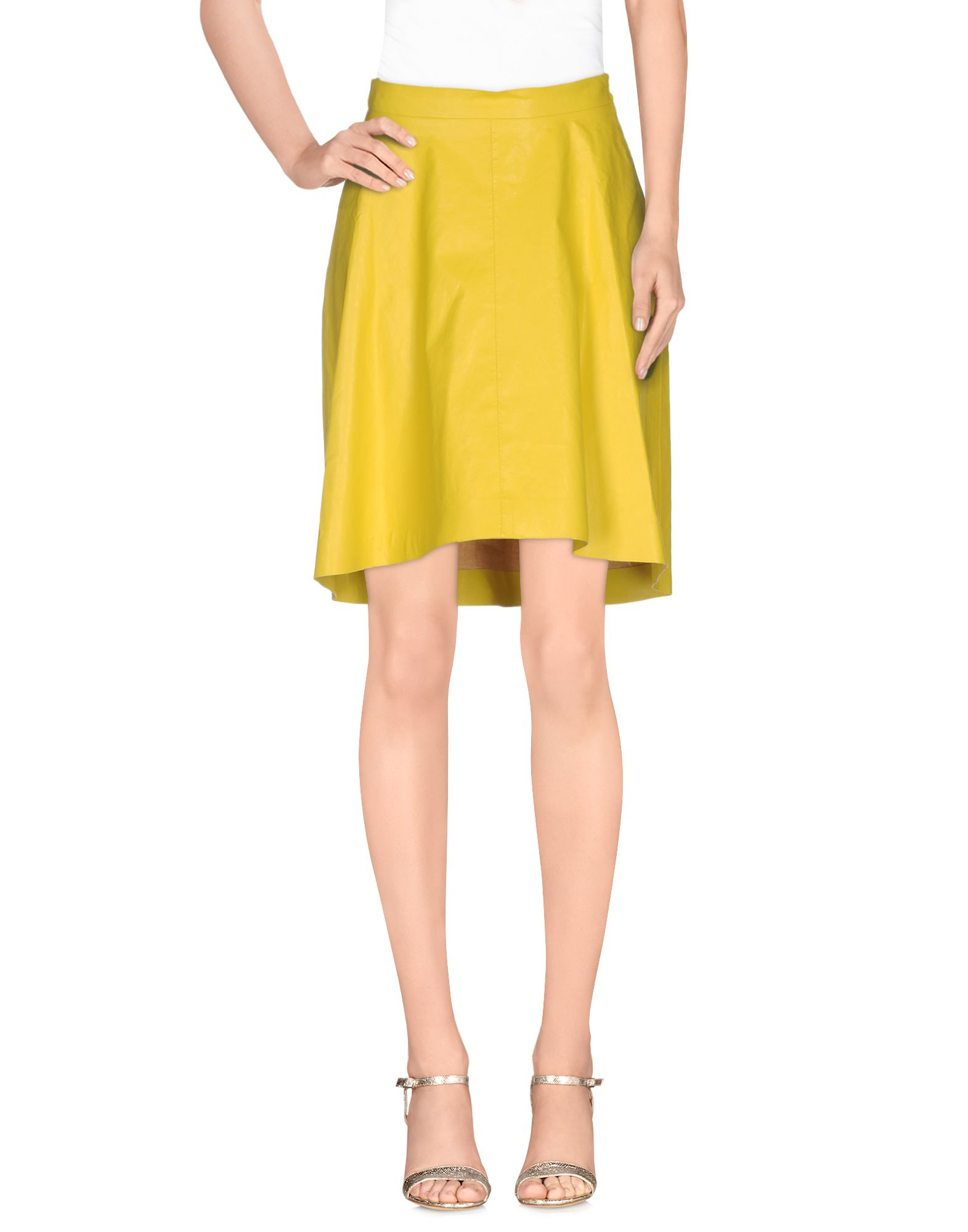 msgm knee length skirt in yellow lyst