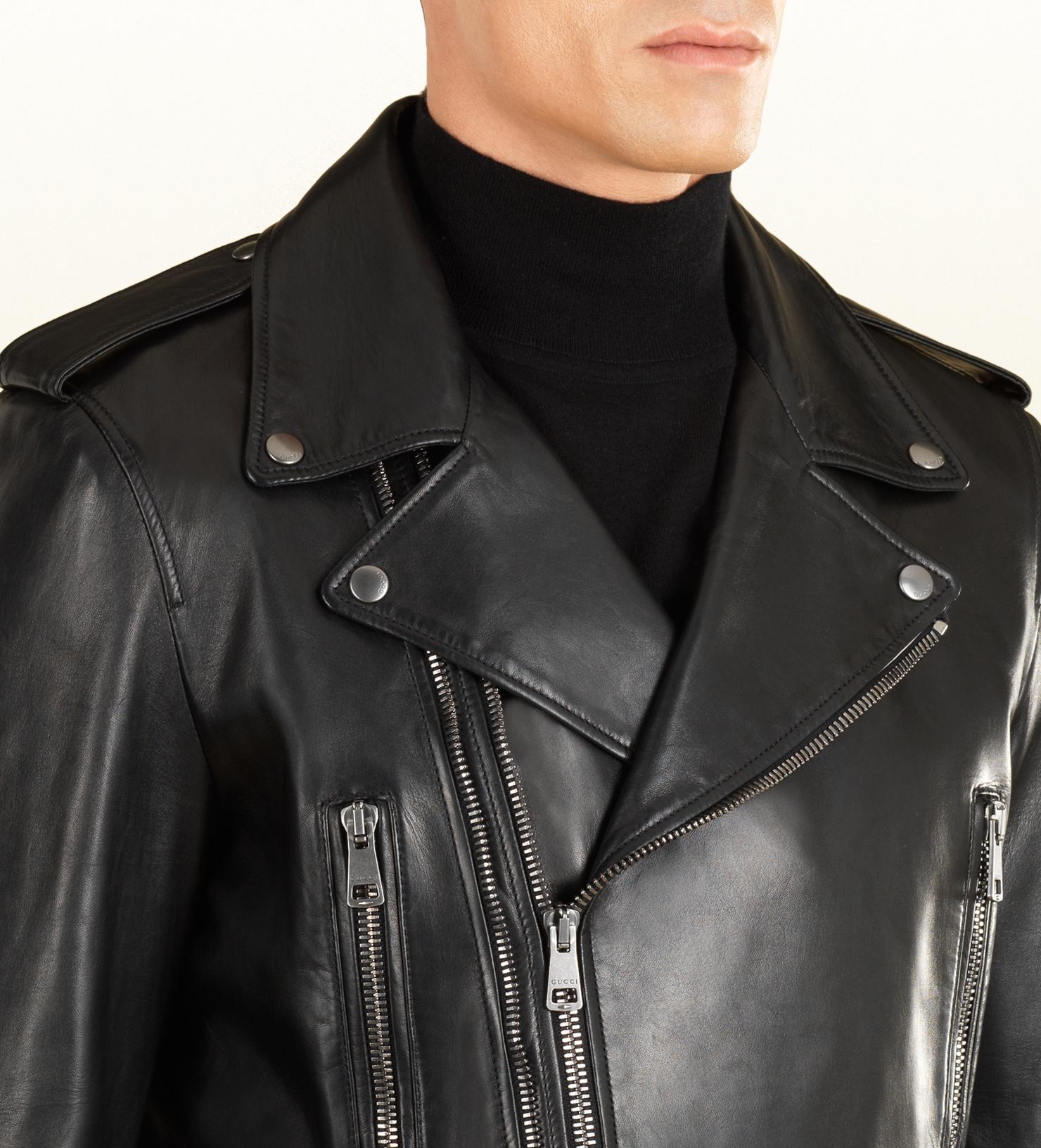 Lyst - Gucci Leather Biker Jacket in Black for Men