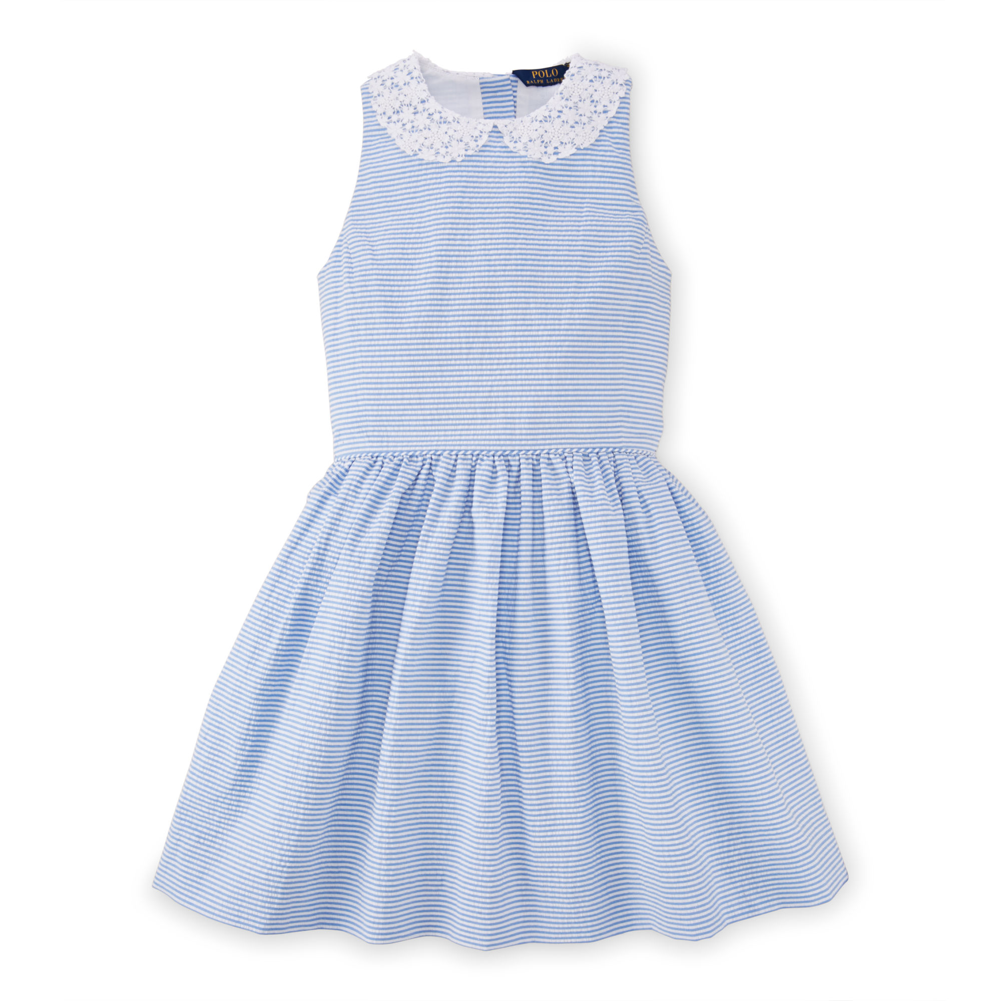 Ralph Lauren Cotton Seersucker Dress In Blue White Blue