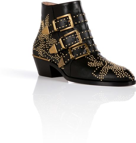 Chloe Gold Studded Ankle Boots Studded Boots in Gold