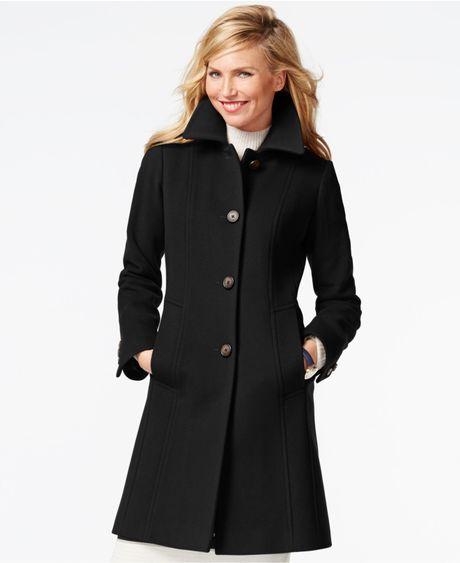 Anne Klein Petite Wool Cashmere Walker Coat In Black Lyst