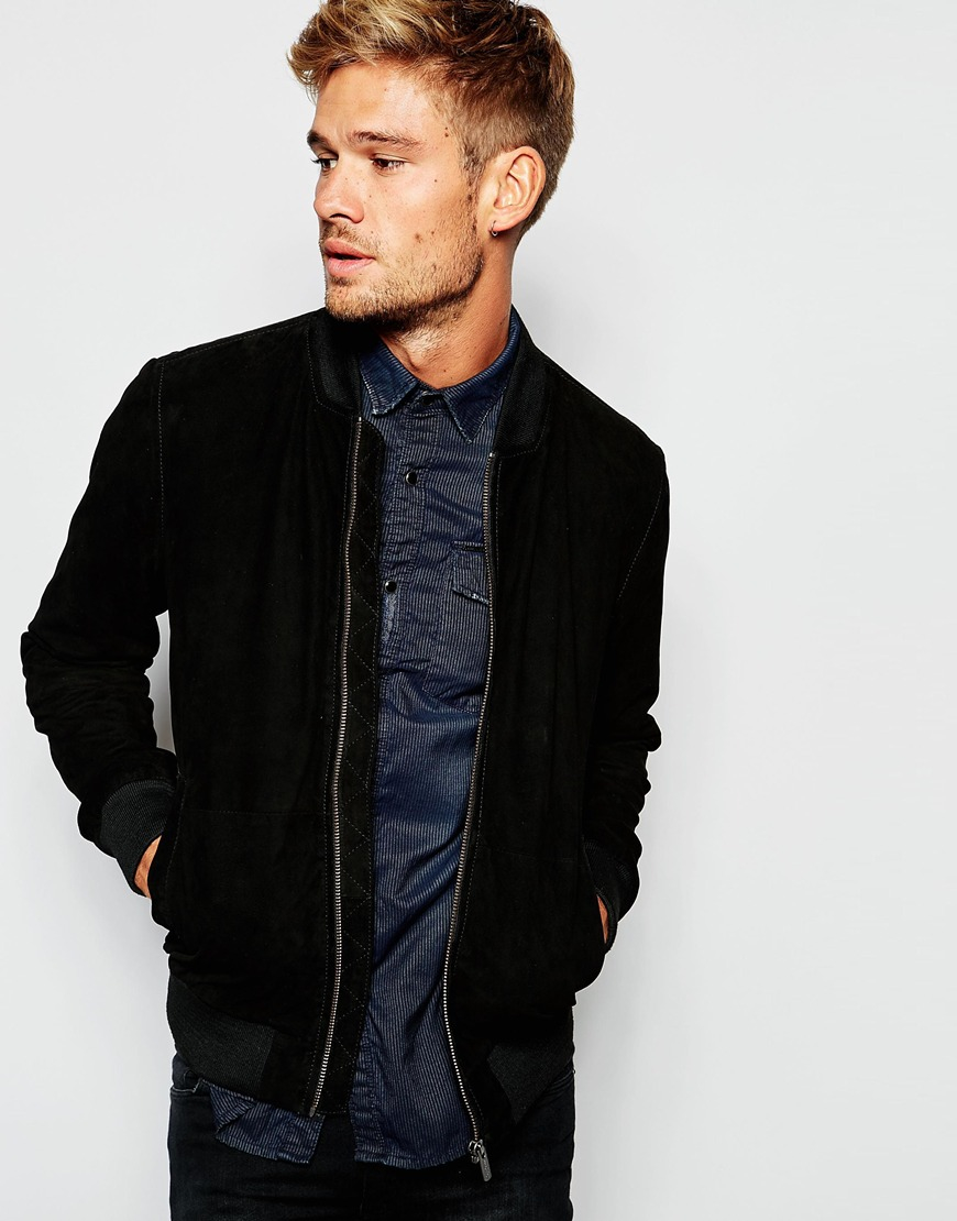 1b2185d970 Lyst - Pepe Jeans Pepe Suede Bomber Jacket Claus Slim Fit in Black ...