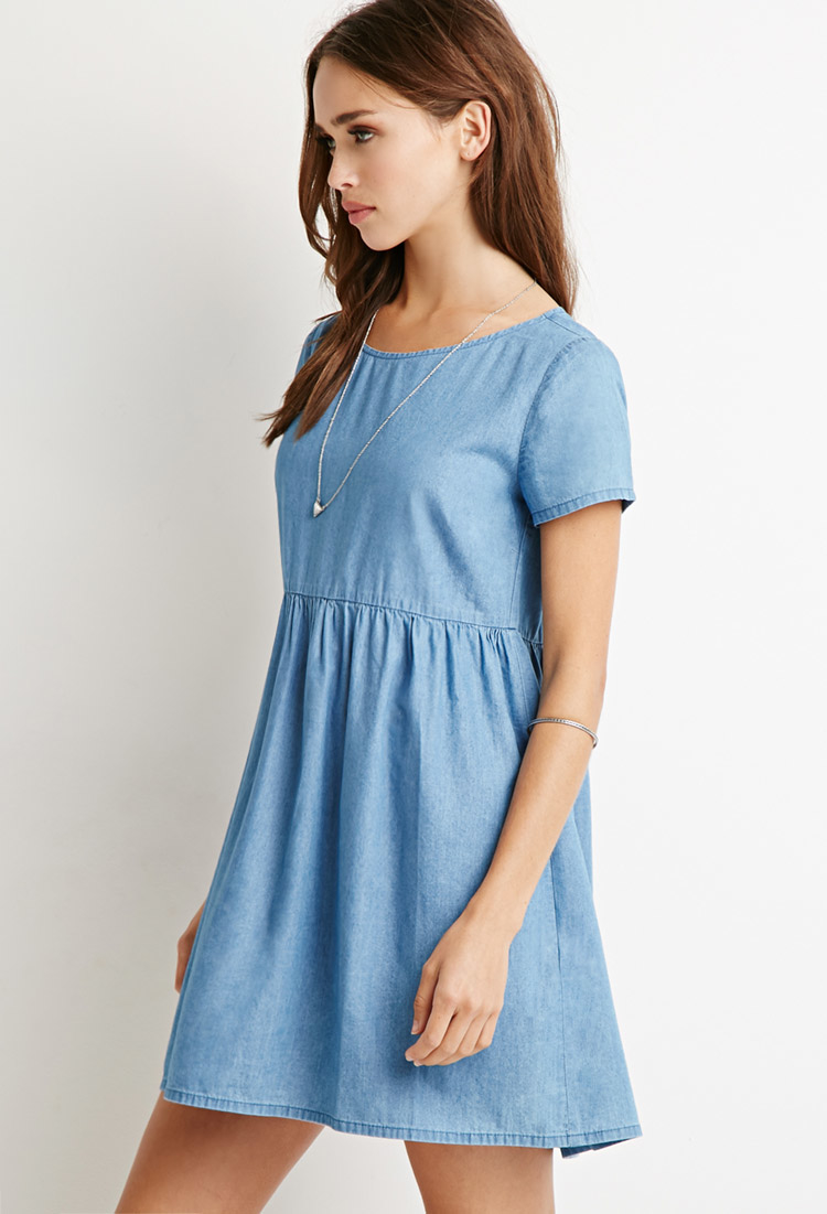 Forever 21 Chambray Babydoll Dress in Blue | Lyst