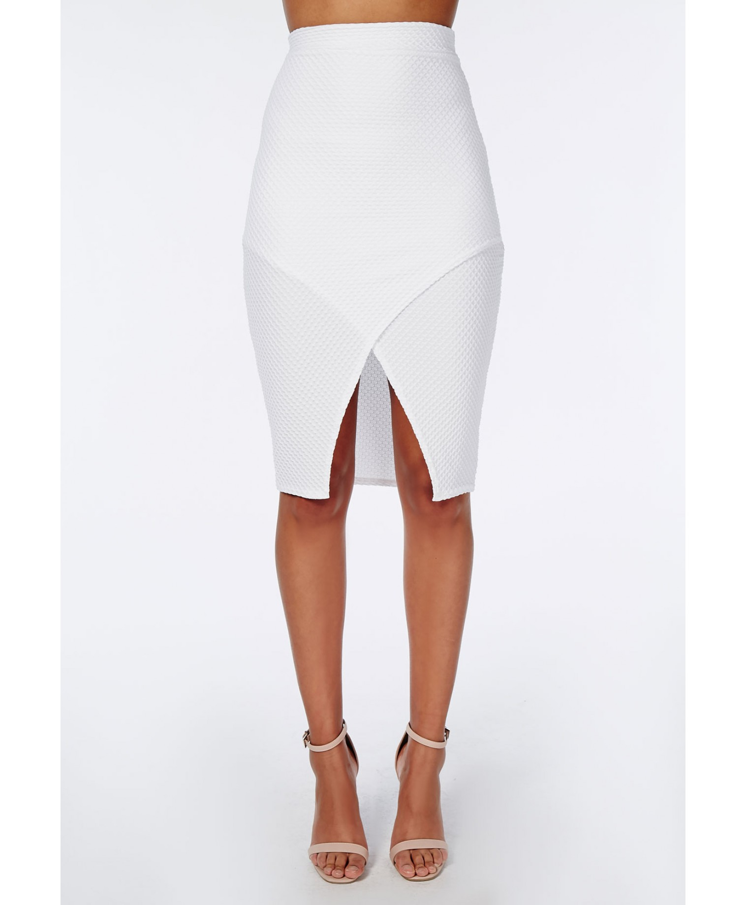 Missguided Textured Wrap Front Midi Skirt White in White | Lyst