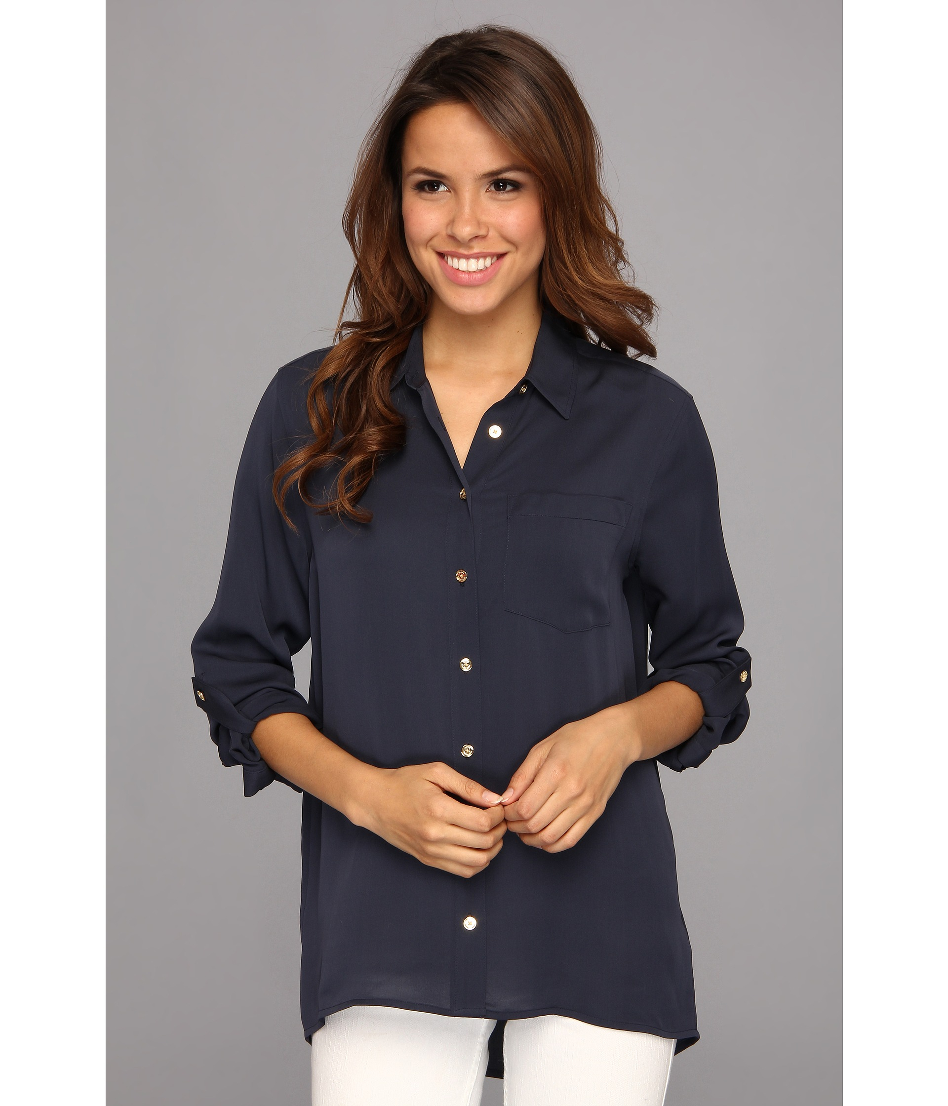 6a134423948 Lyst - MICHAEL Michael Kors Hi Low Button Down Shirt in Blue