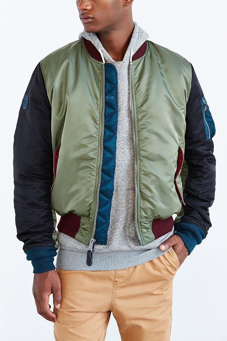 alpha industries slim fit ma1 bomber jacket in green for. Black Bedroom Furniture Sets. Home Design Ideas