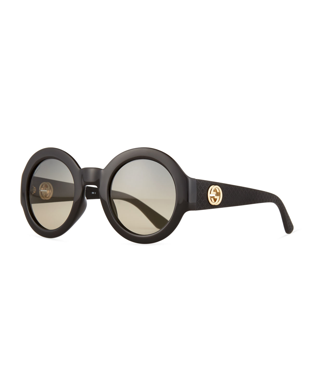 Gucci Embossed Gradient Round Sunglasses In Black Lyst