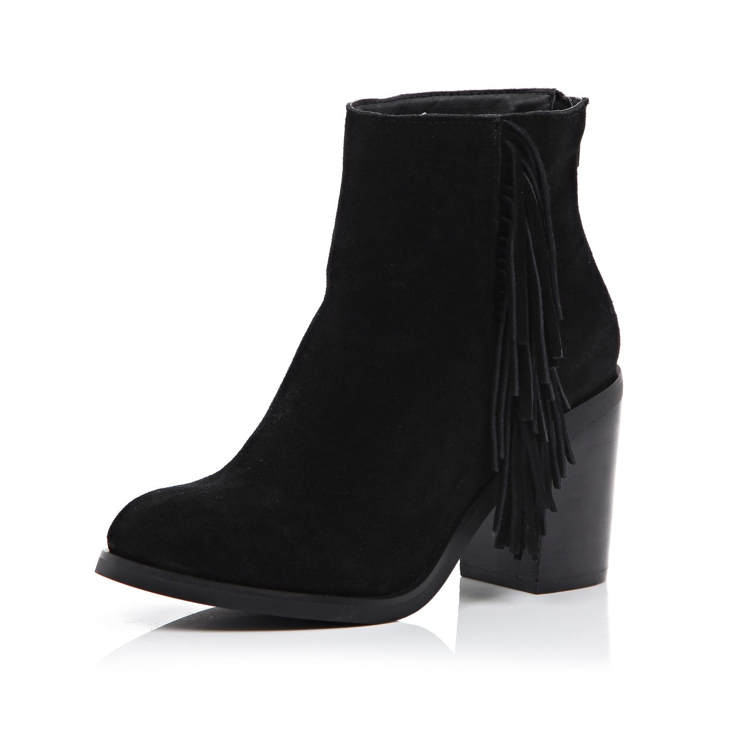 river island black suede fringed ankle boots in black lyst
