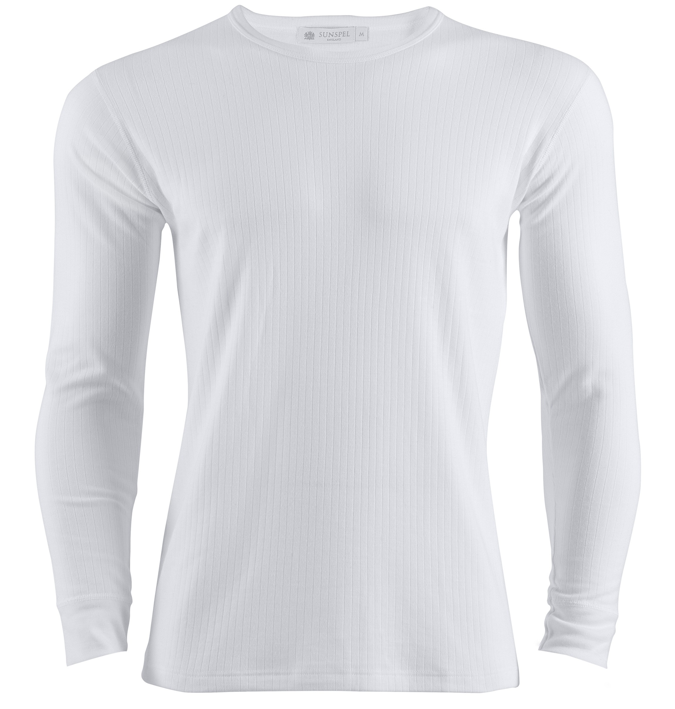 Sunspel long sleeve thermal t shirt in white for men lyst Mens long sleeve white t shirt