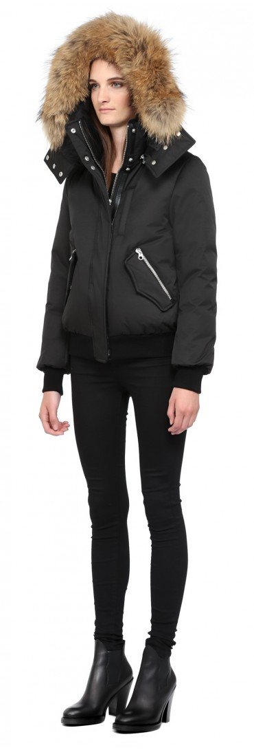 Mackage Abelle Black Winter Down Bomber Jacket With Fur Hood in ...