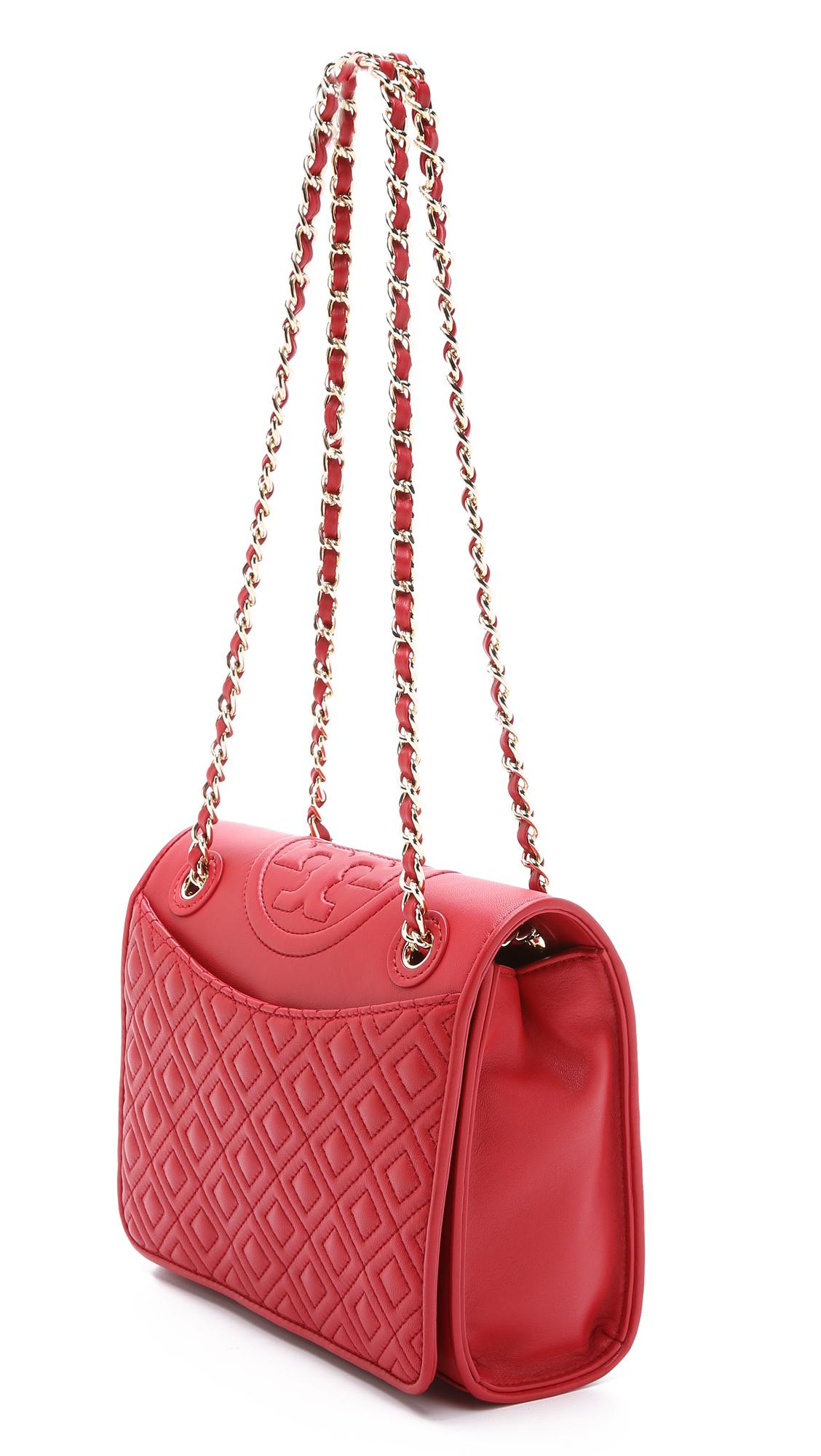 Tory Burch Fleming Medium Shoulder Bag In Red Lyst
