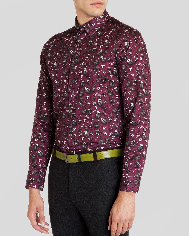 Ted baker noface floral print sport shirt regular fit in for Ted baker floral print shirt