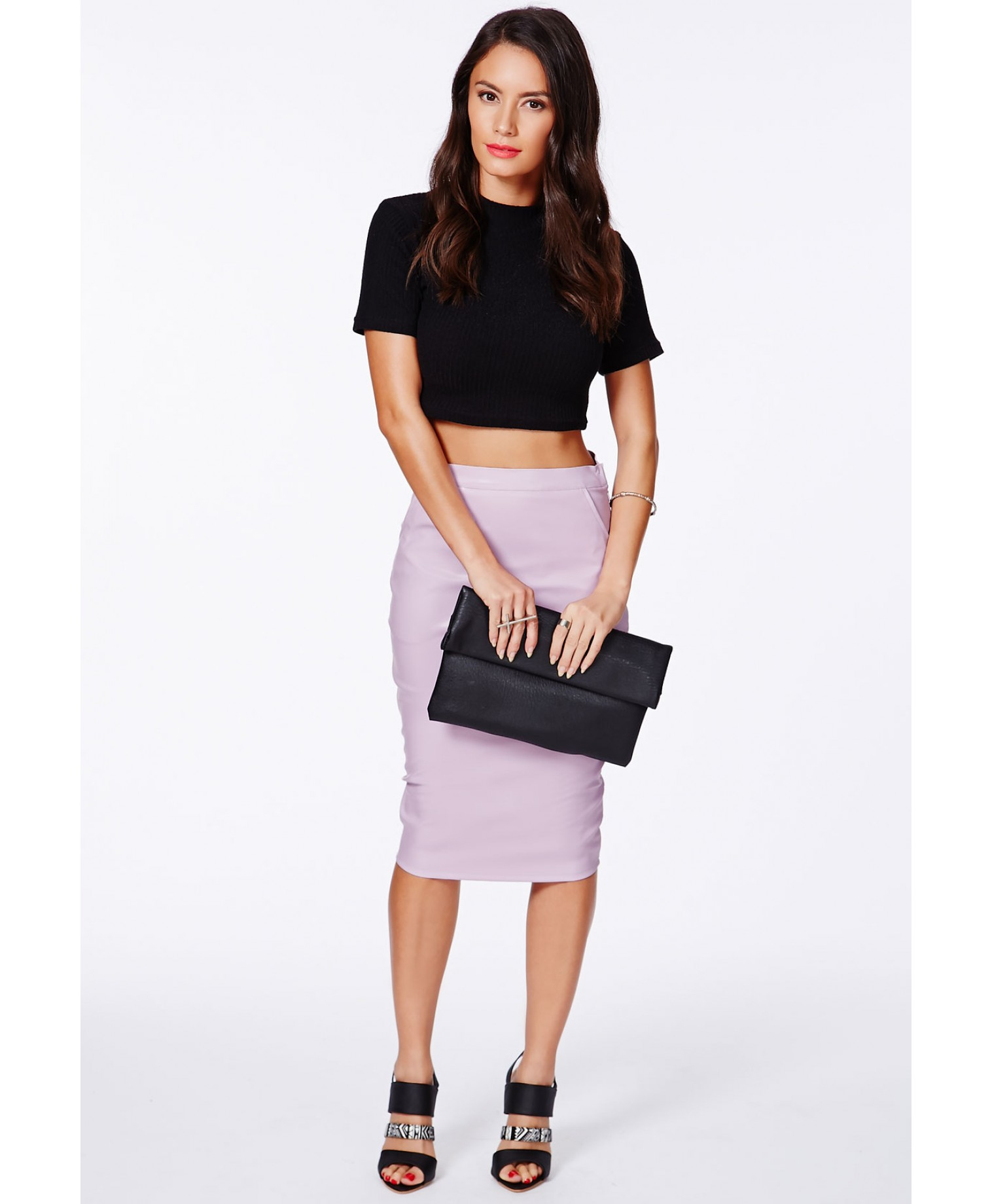 Missguided Mariota Lilac Faux Leather Pencil Skirt in Purple | Lyst