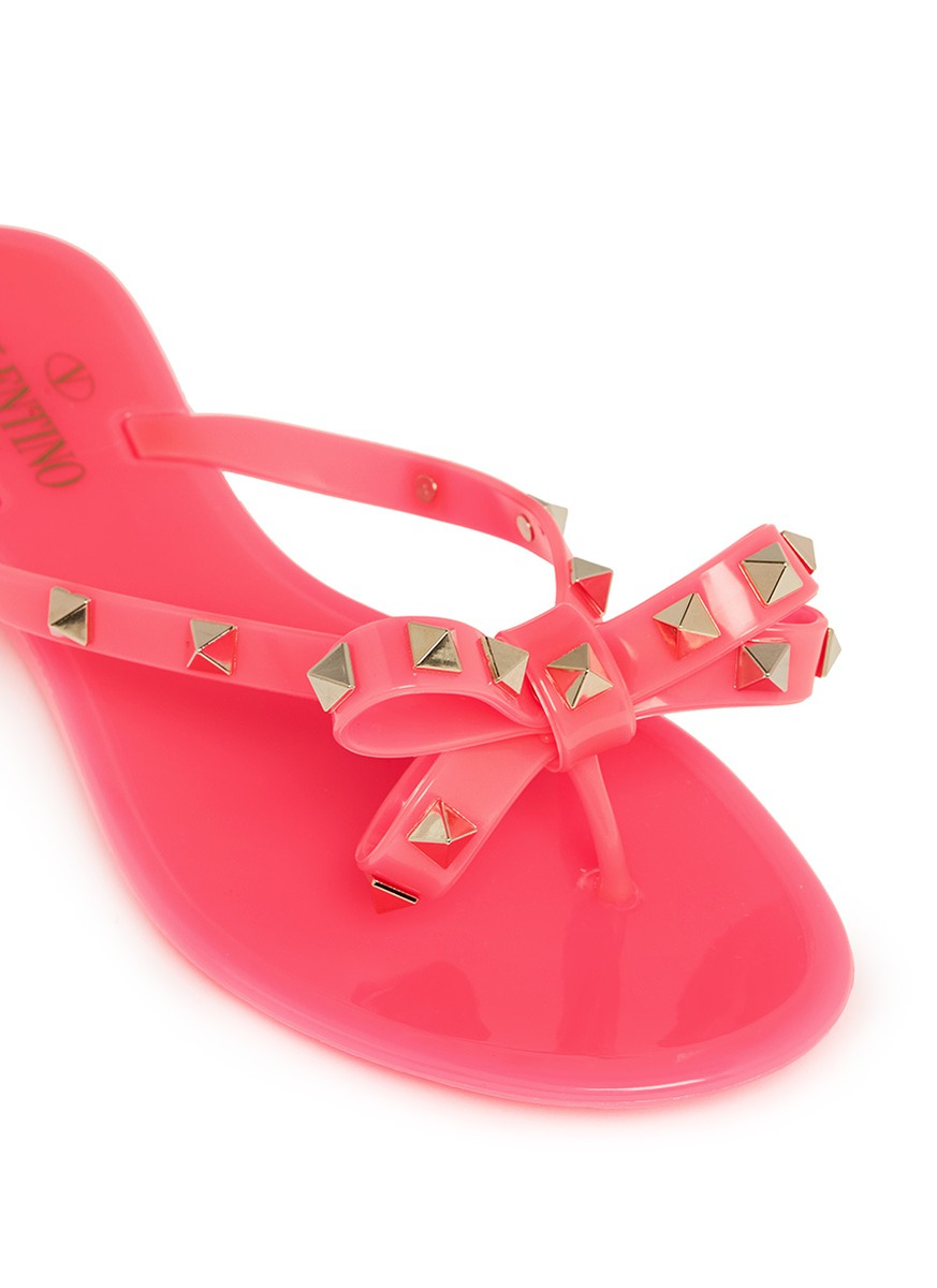 Valentino Rockstud Bow Flat Jelly Sandals In Pink Lyst