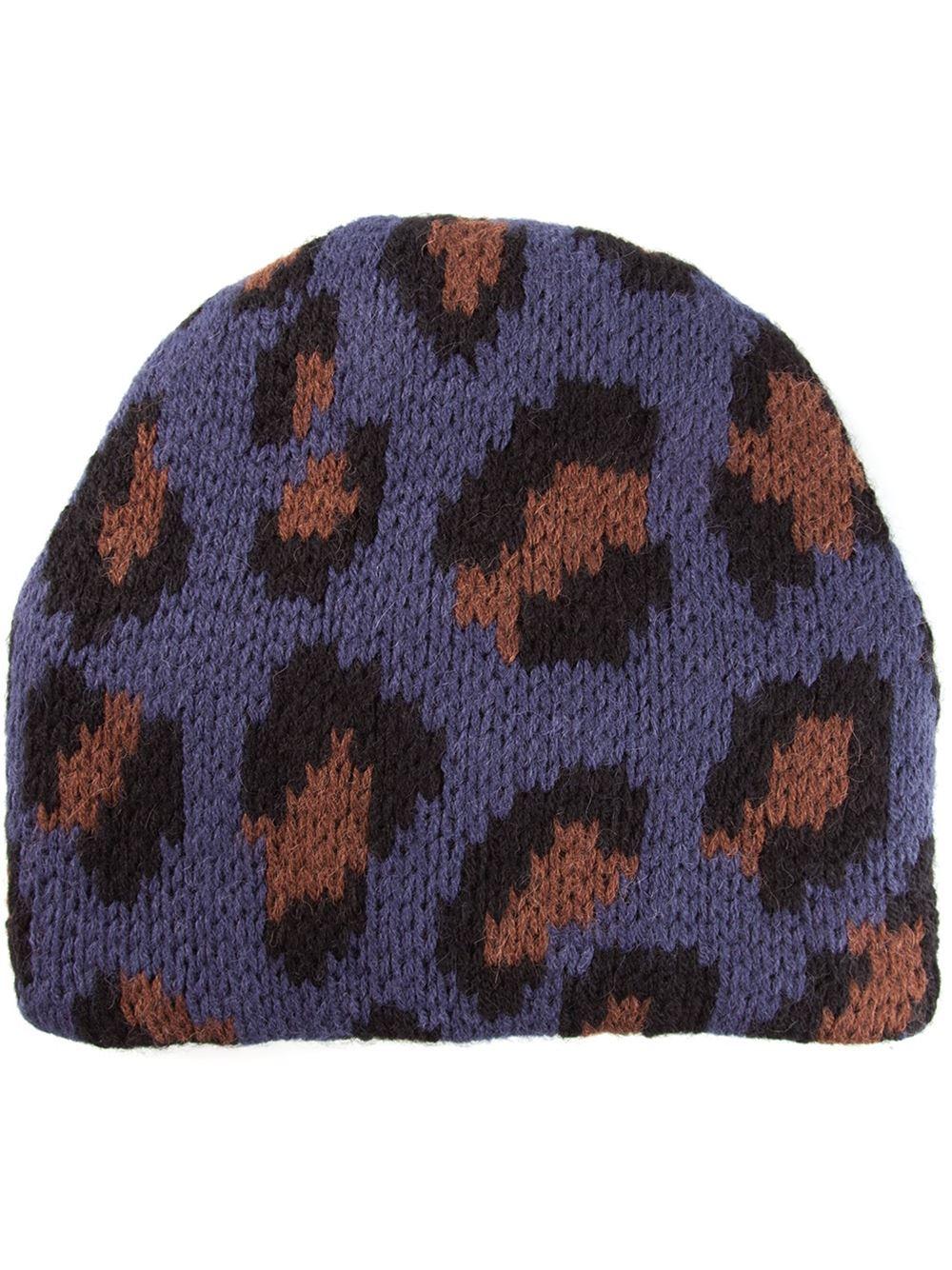 ee0406071a9 Lyst - Tak.ori Cortina Leopard Beanie Hat in Blue