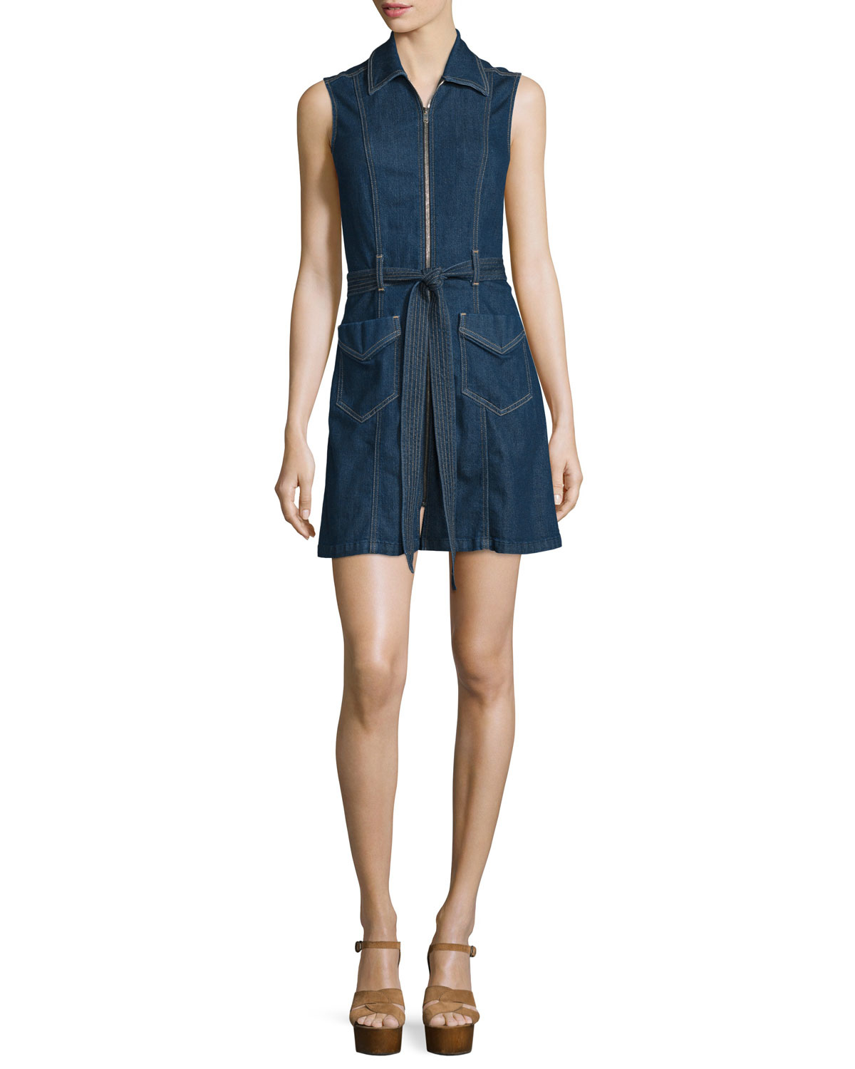 7 for all mankind zip front denim shirt dress in blue