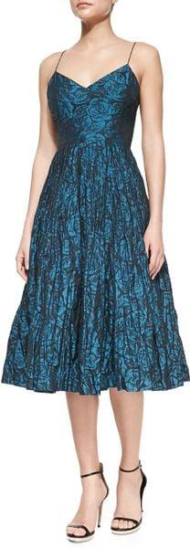 Tracy Reese Spaghetti Strap Floral Print Ballerina Dress