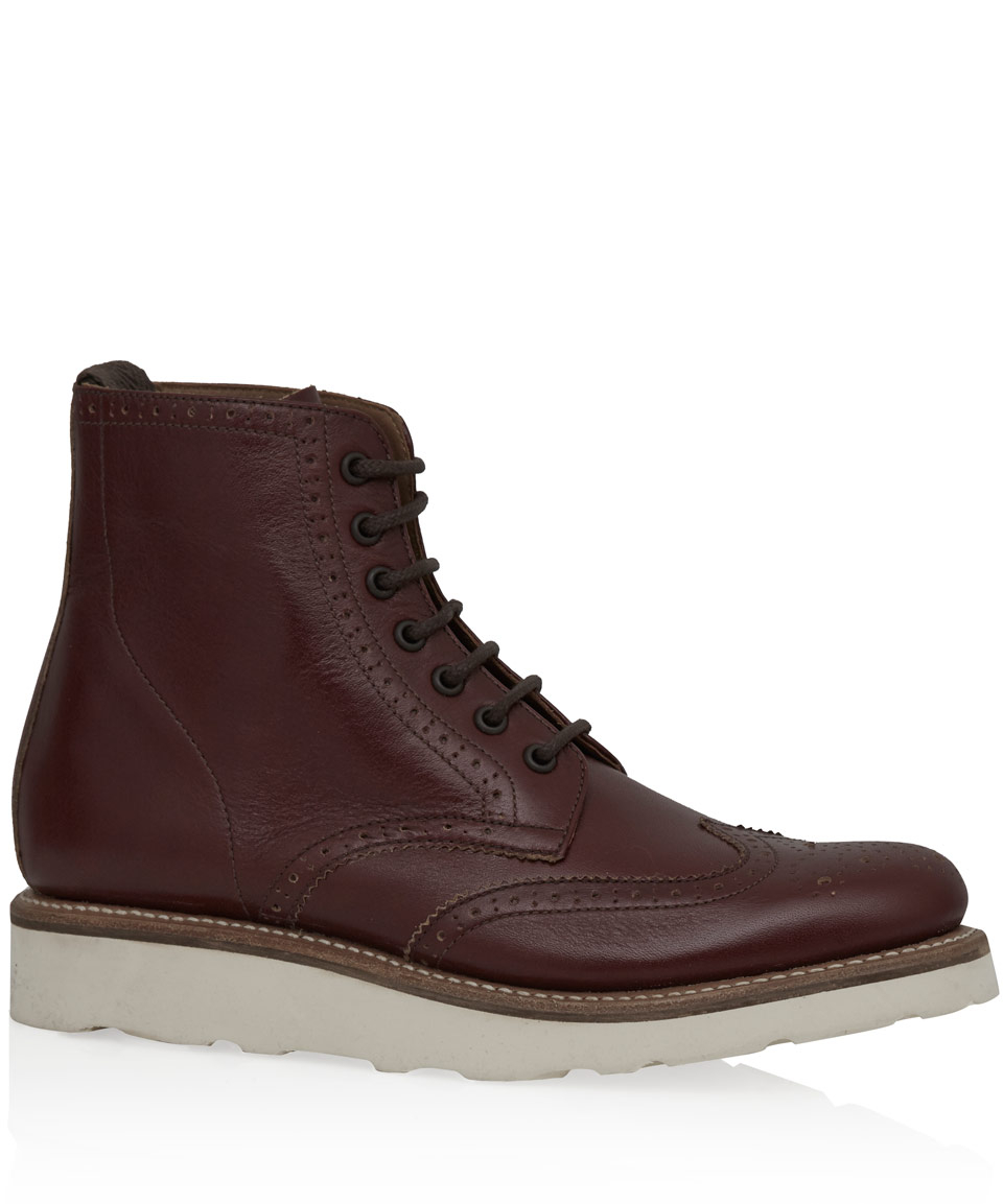 foot the coacher rust leather micro wedge lace up
