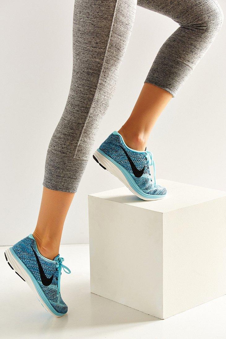 nike womens flyknit lunar 3 running sneaker in blue lyst