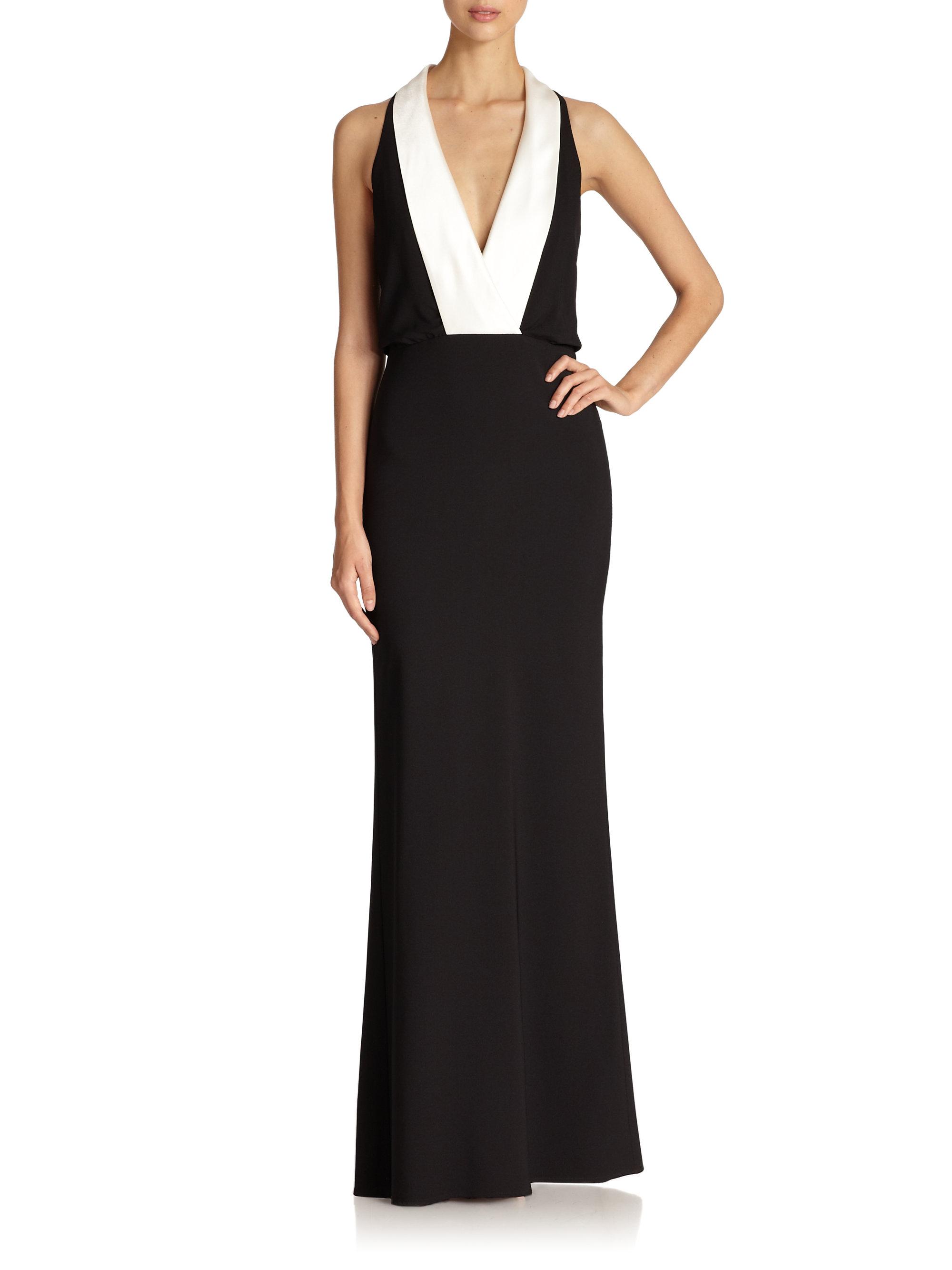 Lyst - Abs by allen schwartz Crepe Tuxedo Gown in Black