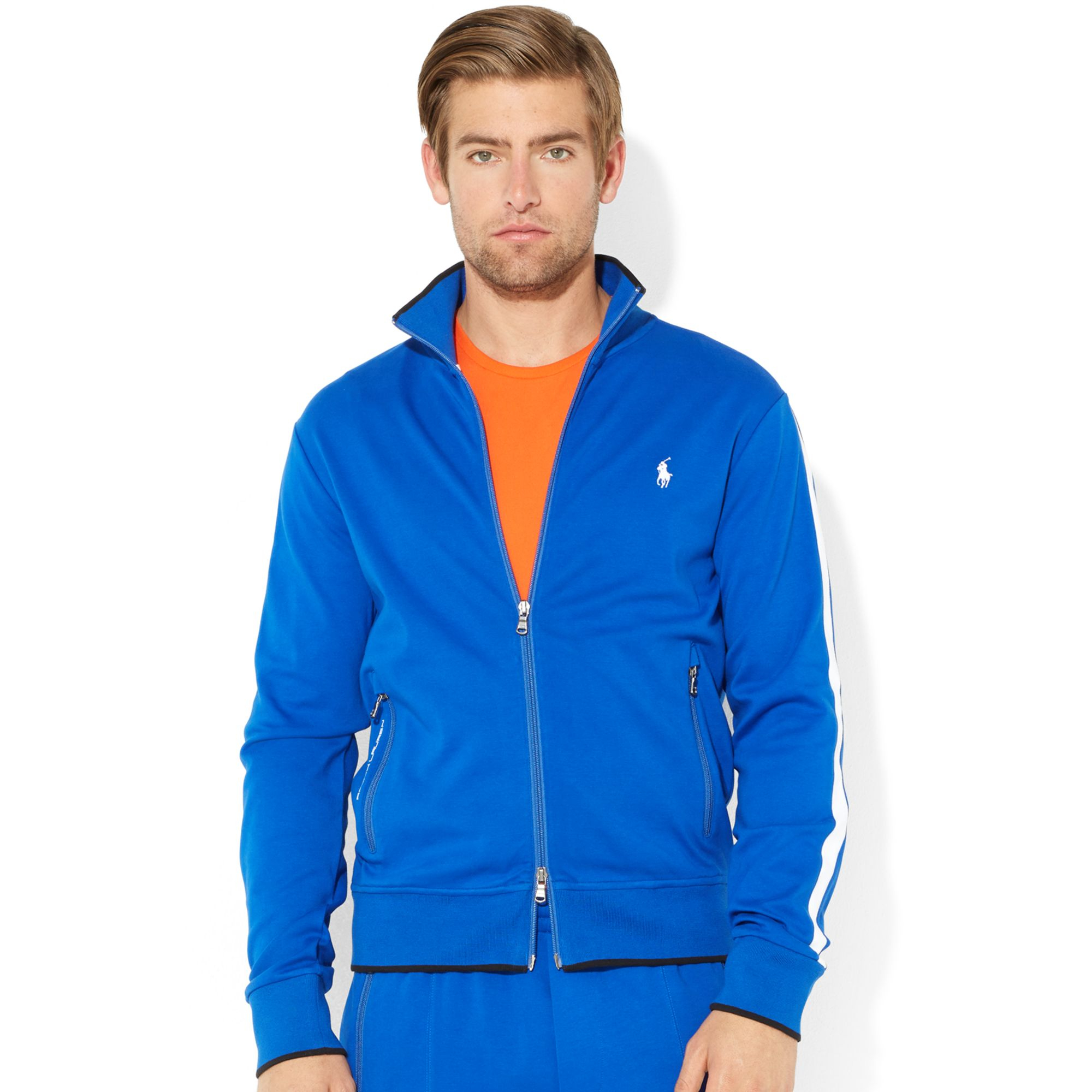 polo ralph lauren performance track jacket in blue for men. Black Bedroom Furniture Sets. Home Design Ideas