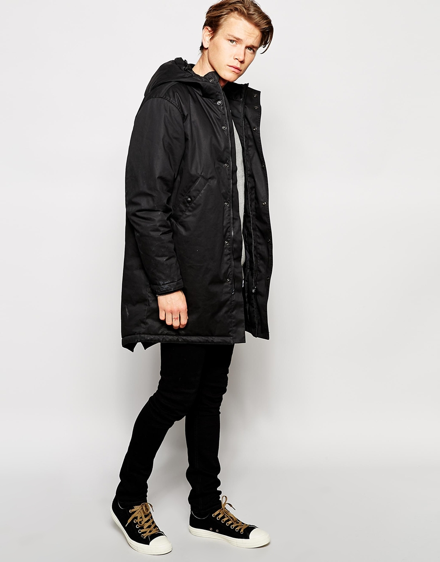 Edwin Hooded Fishtail Parka Padded Lining in Black for Men | Lyst