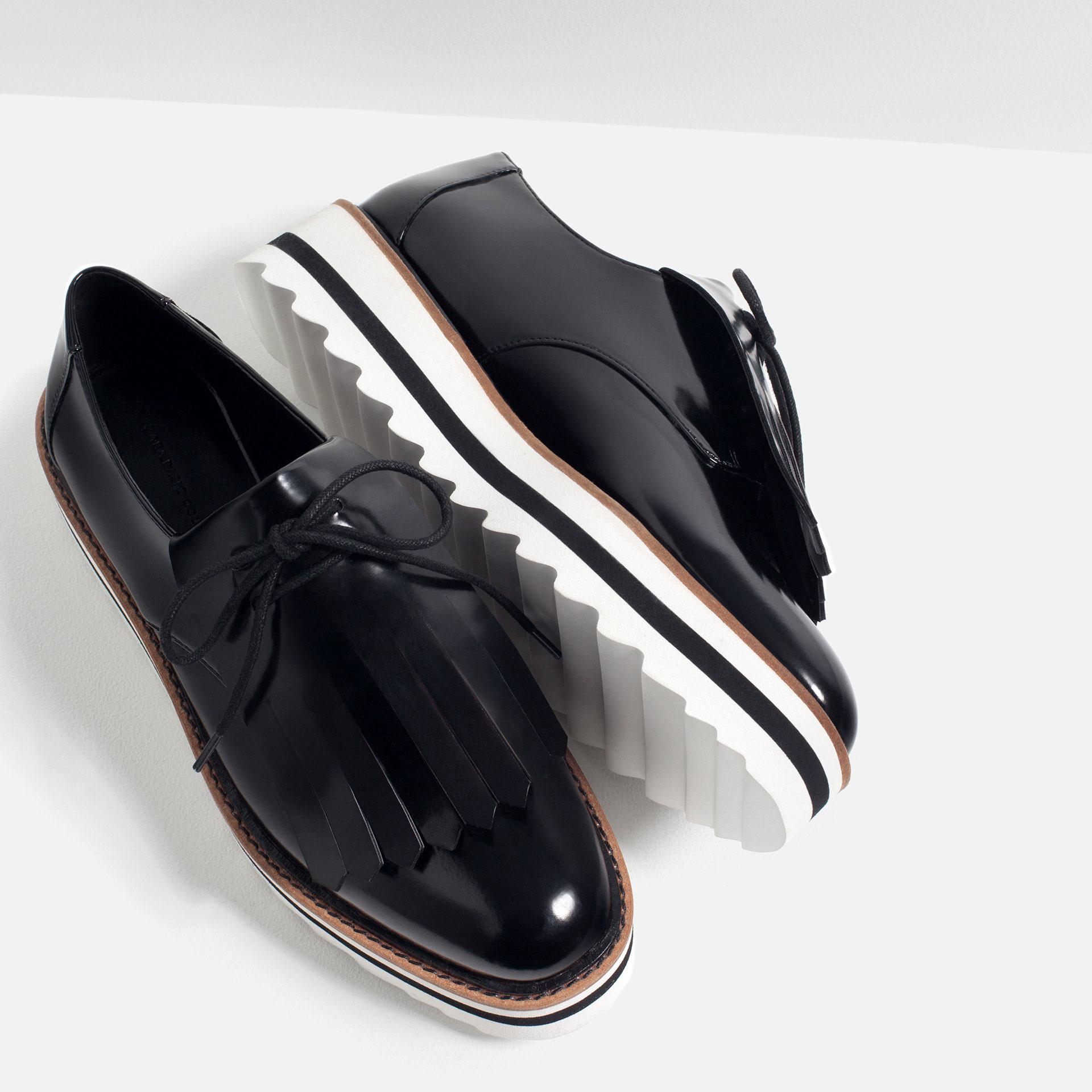 zara fringed flat shoes in black lyst