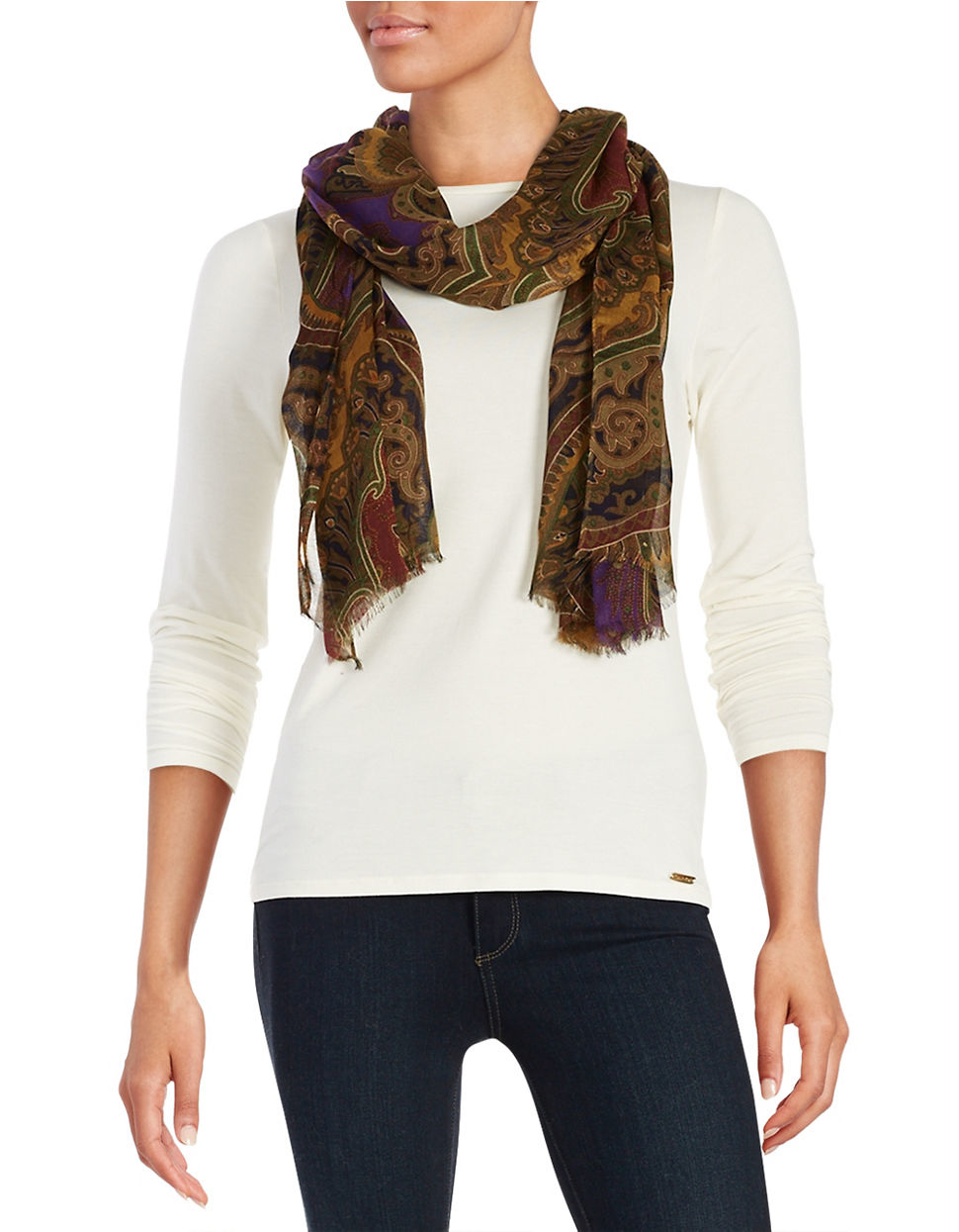 by ralph brown fringe trimmed scarf lyst