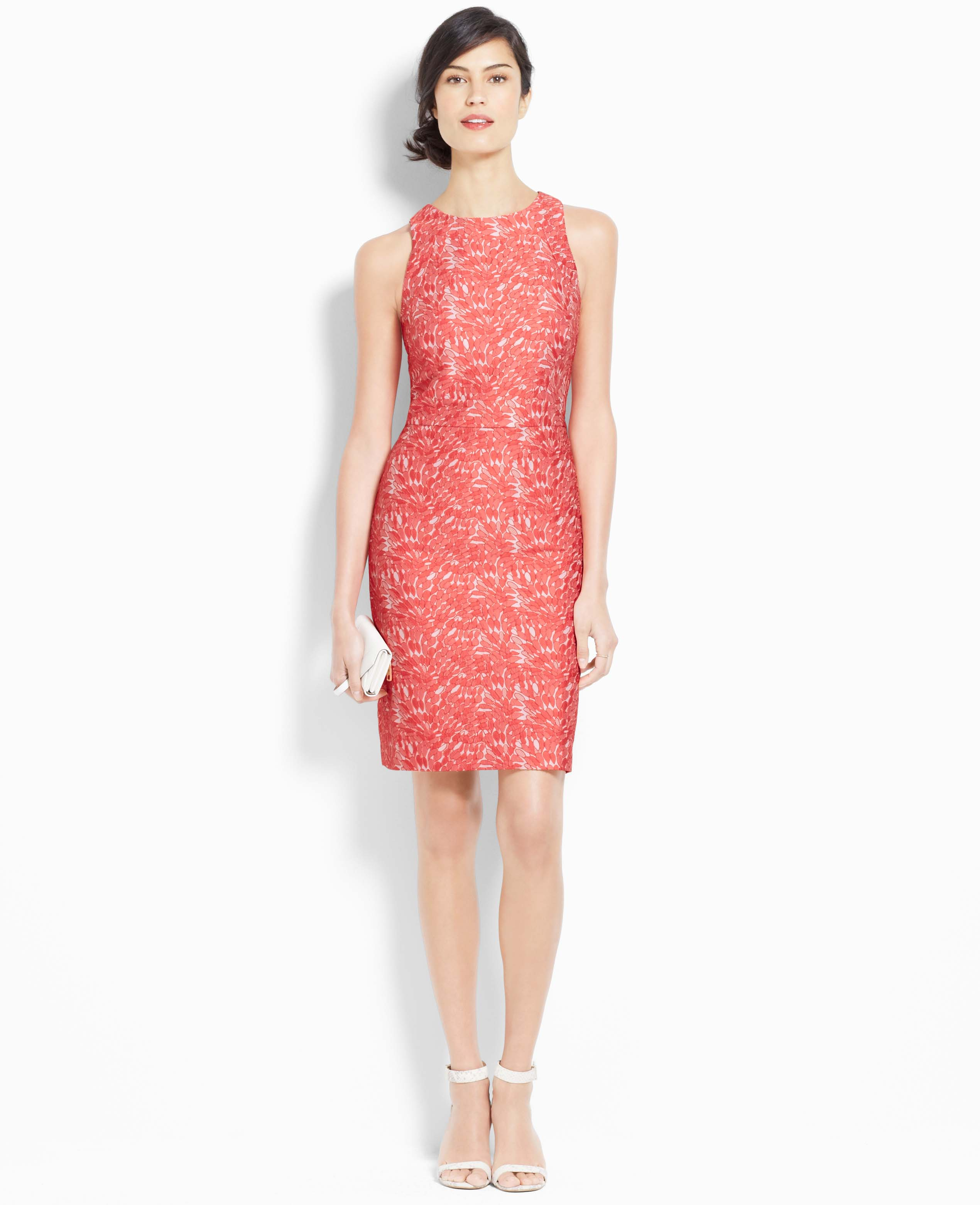 Ann Taylor Jacquard Sheath Dress In Orange Lyst