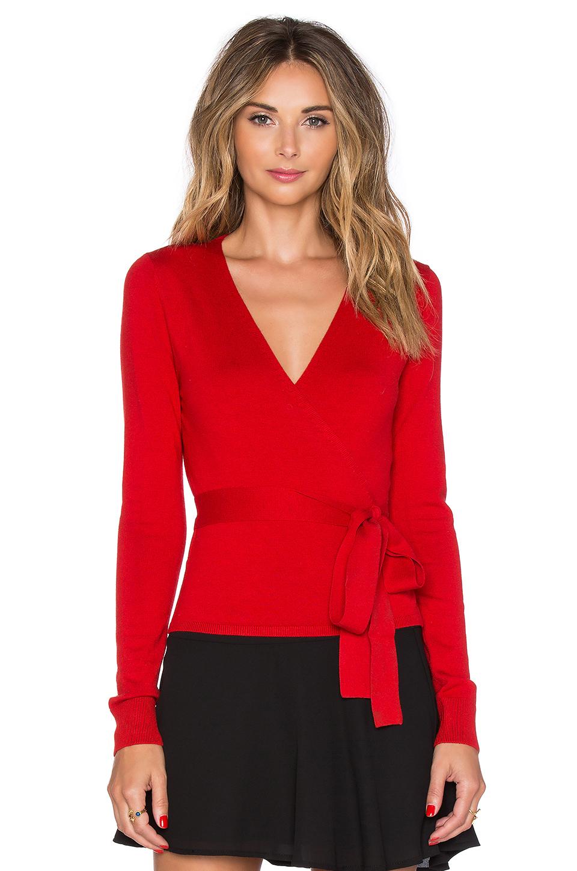 Diane Von Furstenberg Silk Ballerina Wrap Sweater In Poppy