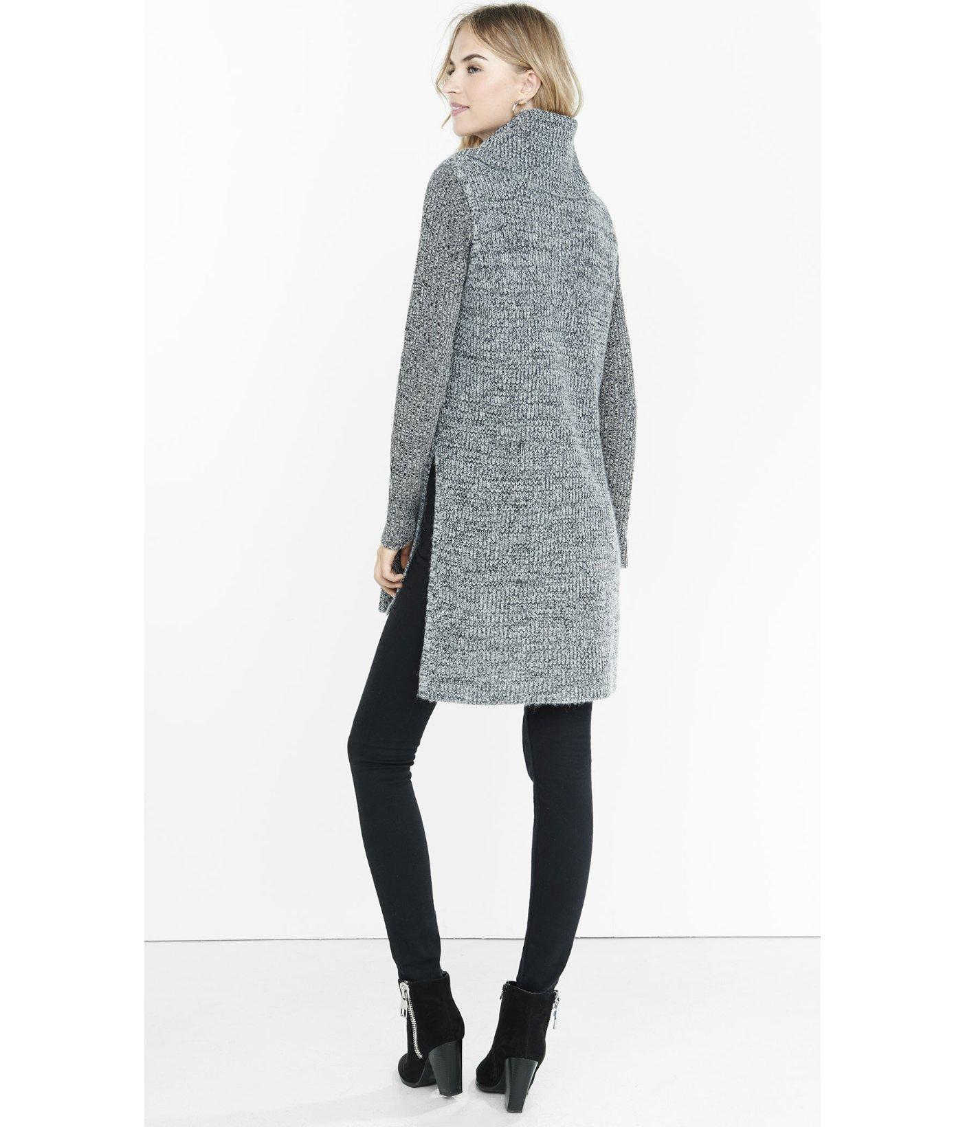 Express Marl Sleeveless Cowl Neck Tunic Sweater In Black