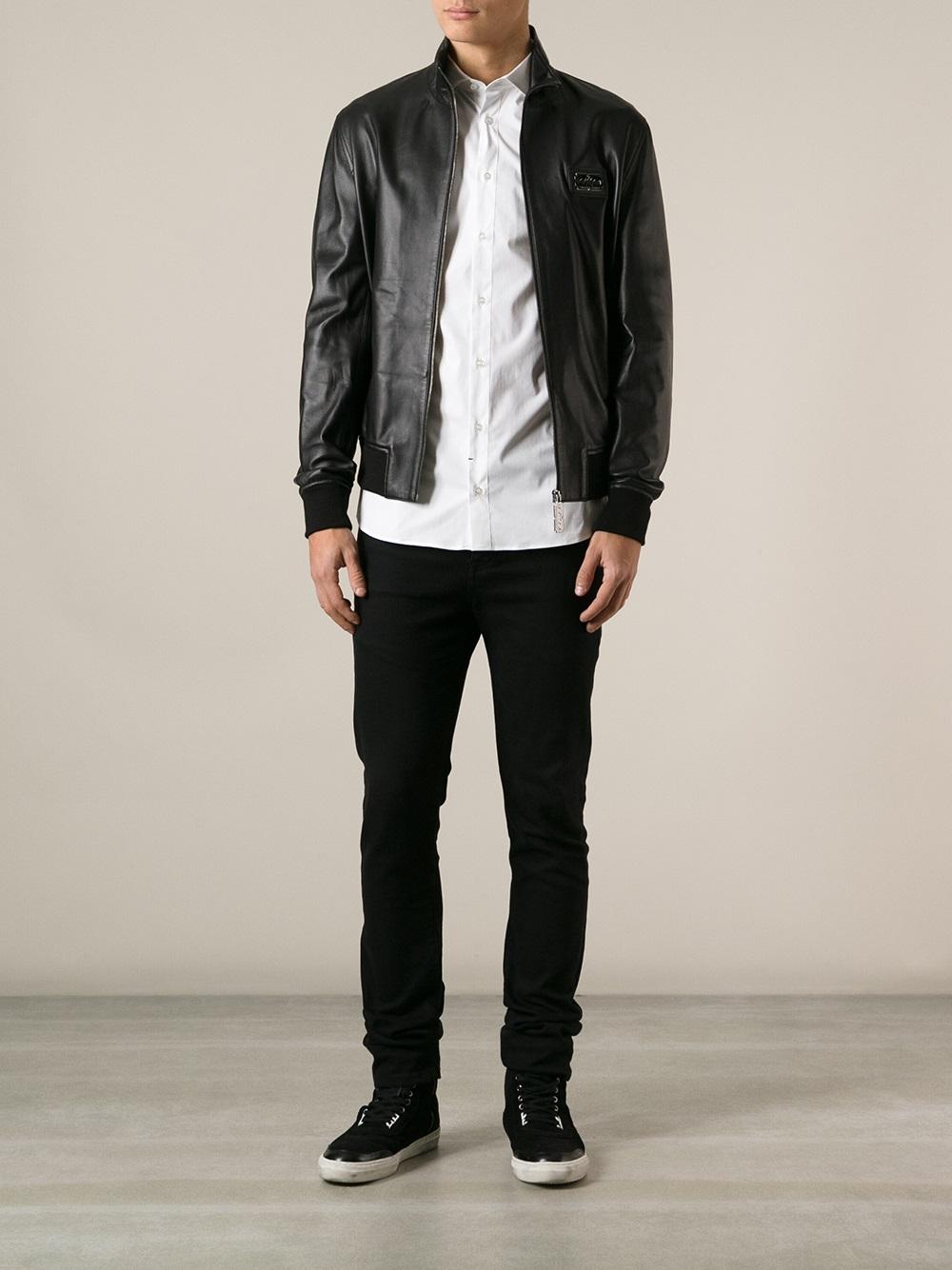 Philipp Plein Skull Detail Jacket in Black for Men