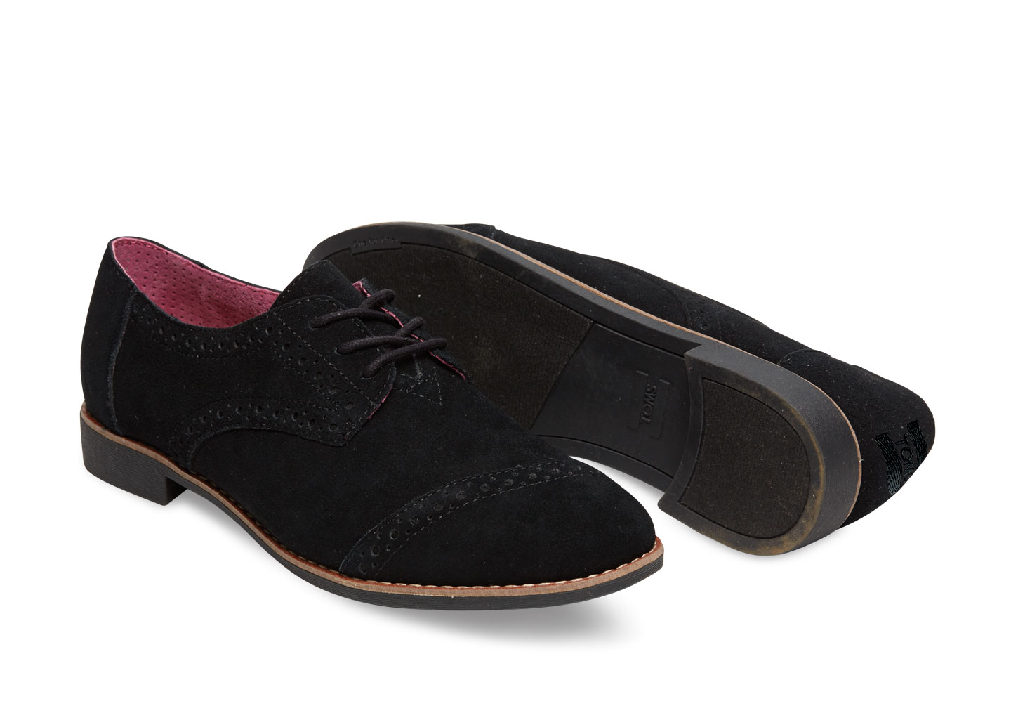 Ladies Black Leather Brogue Shoes