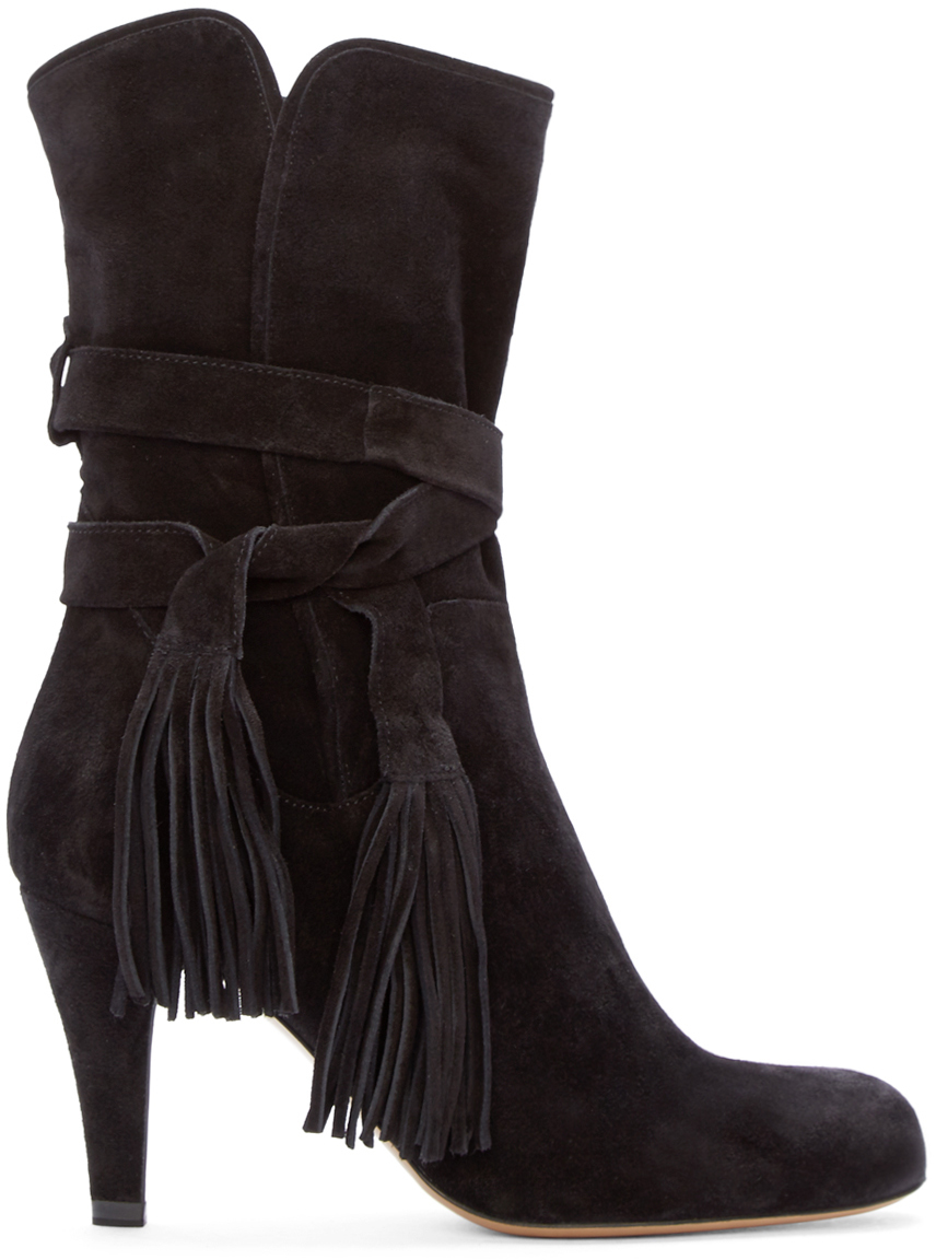 chlo 233 black suede fringe ankle boots in black lyst