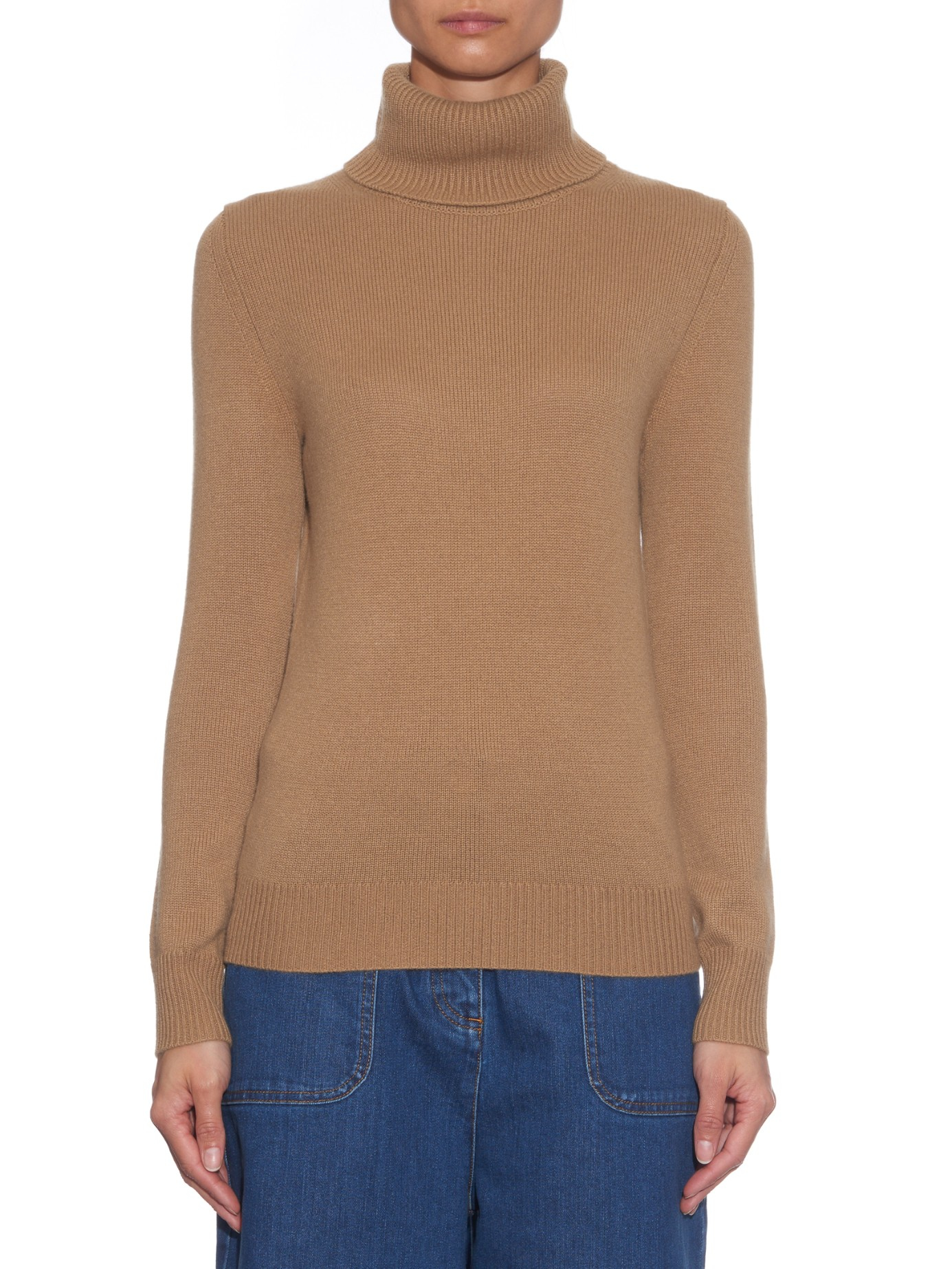 Chloé Roll-neck Cashmere Sweater in Brown | Lyst