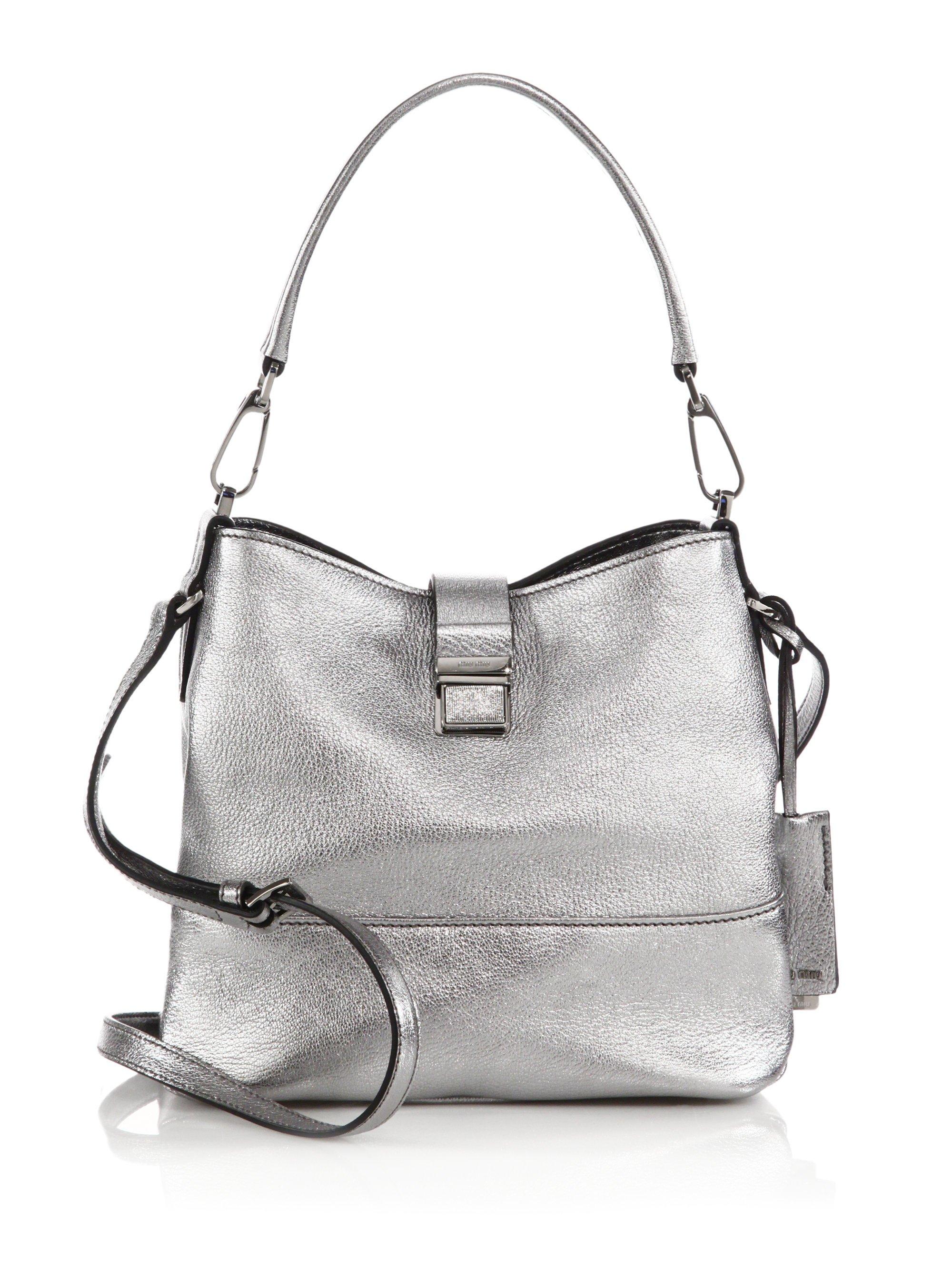 df1aab61eb150 Lyst - Miu Miu Madras Metallic Leather Crossbody Bag in Metallic