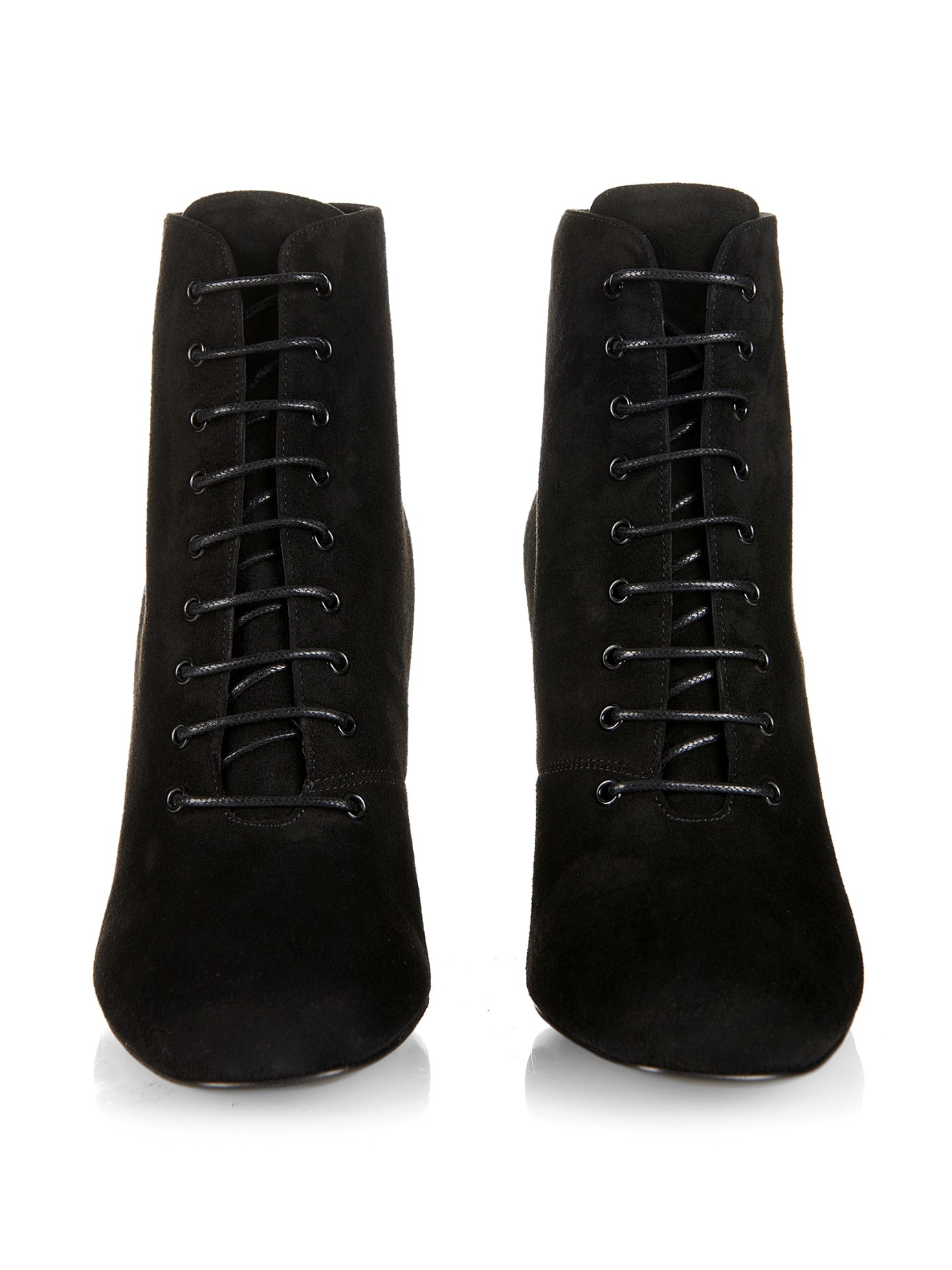 laurent lace up suede boots in black lyst