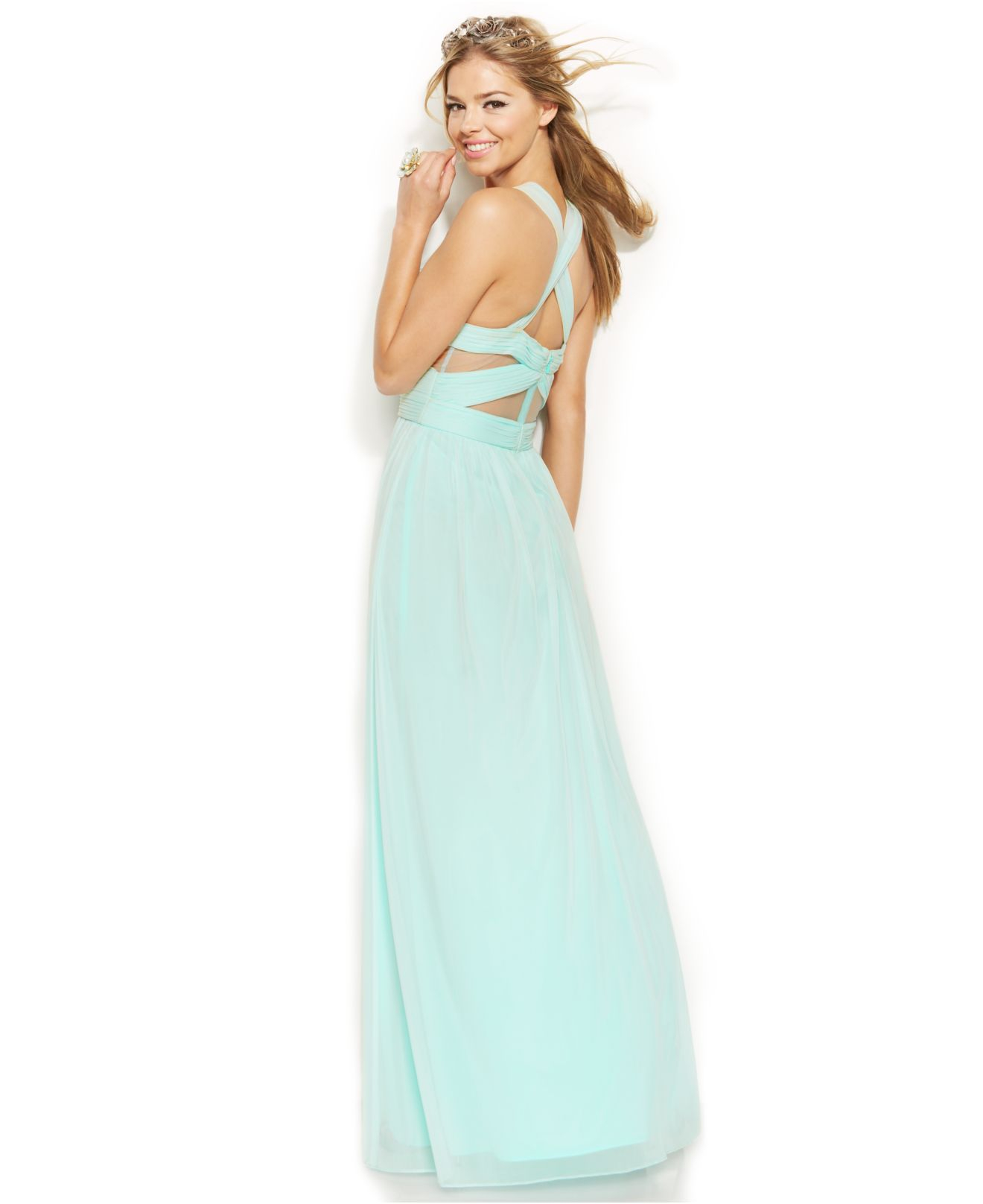 Lyst Betsy Adam Sleeveless Illusion Cutout Gown In Blue
