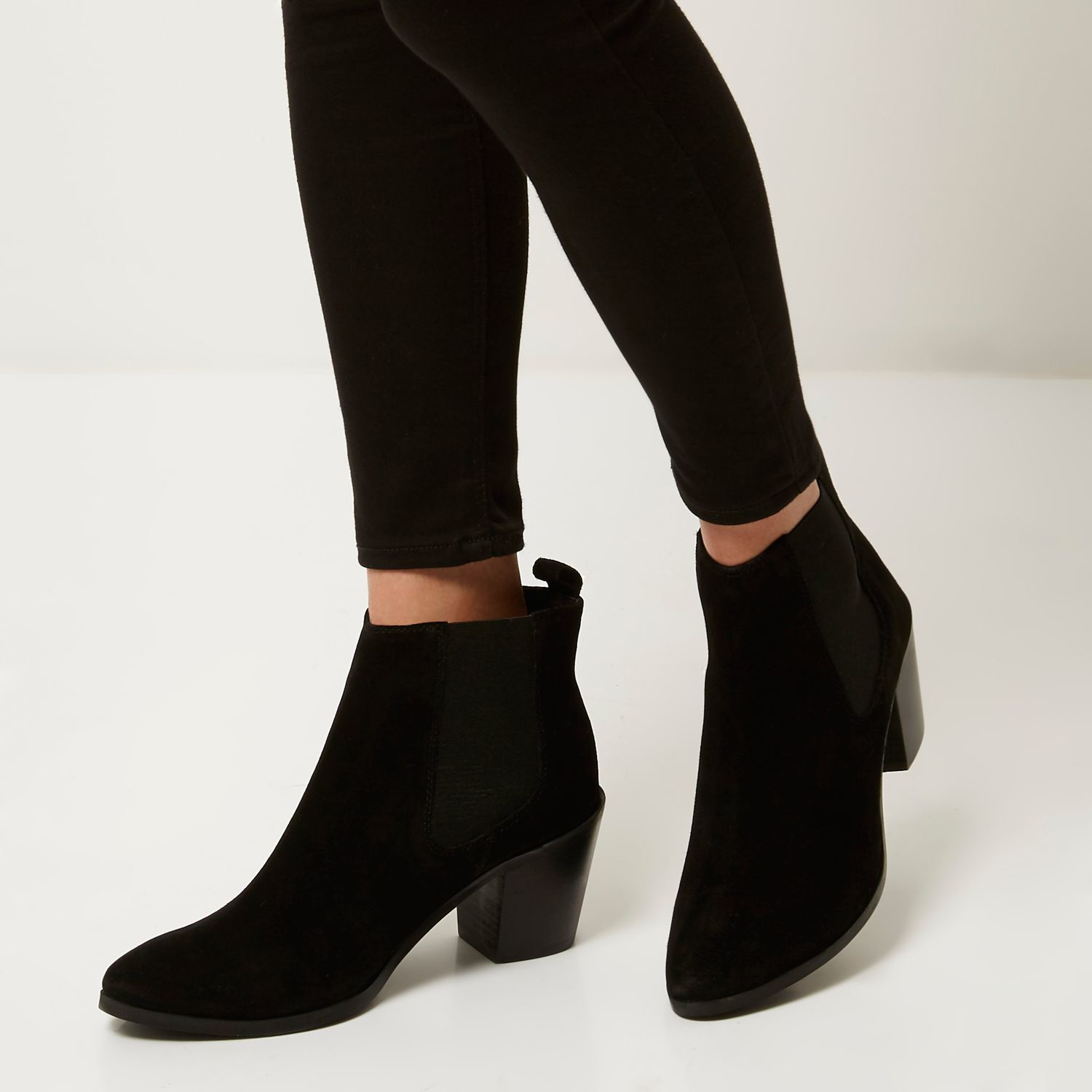 reasonably priced vast selection latest fashion River Island Black Suede Mid Heel Ankle Boots - Lyst